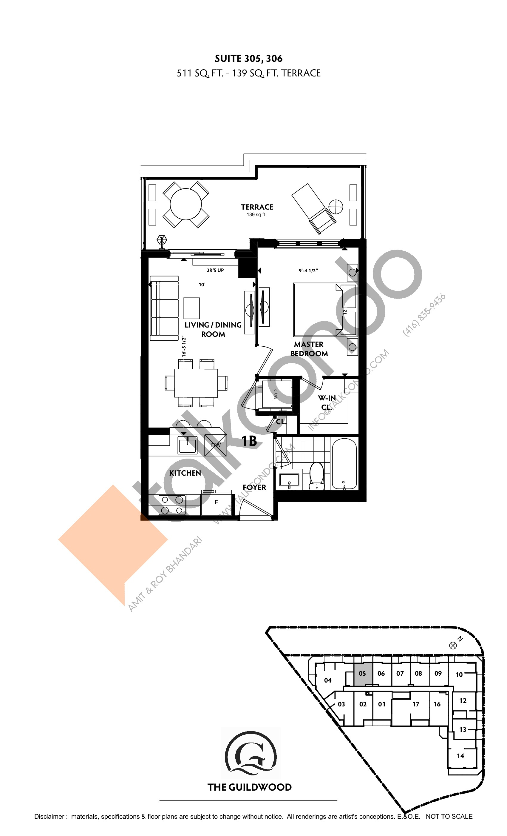 Suite 305, 306 Floor Plan at Guildwood Condos - 511 sq.ft