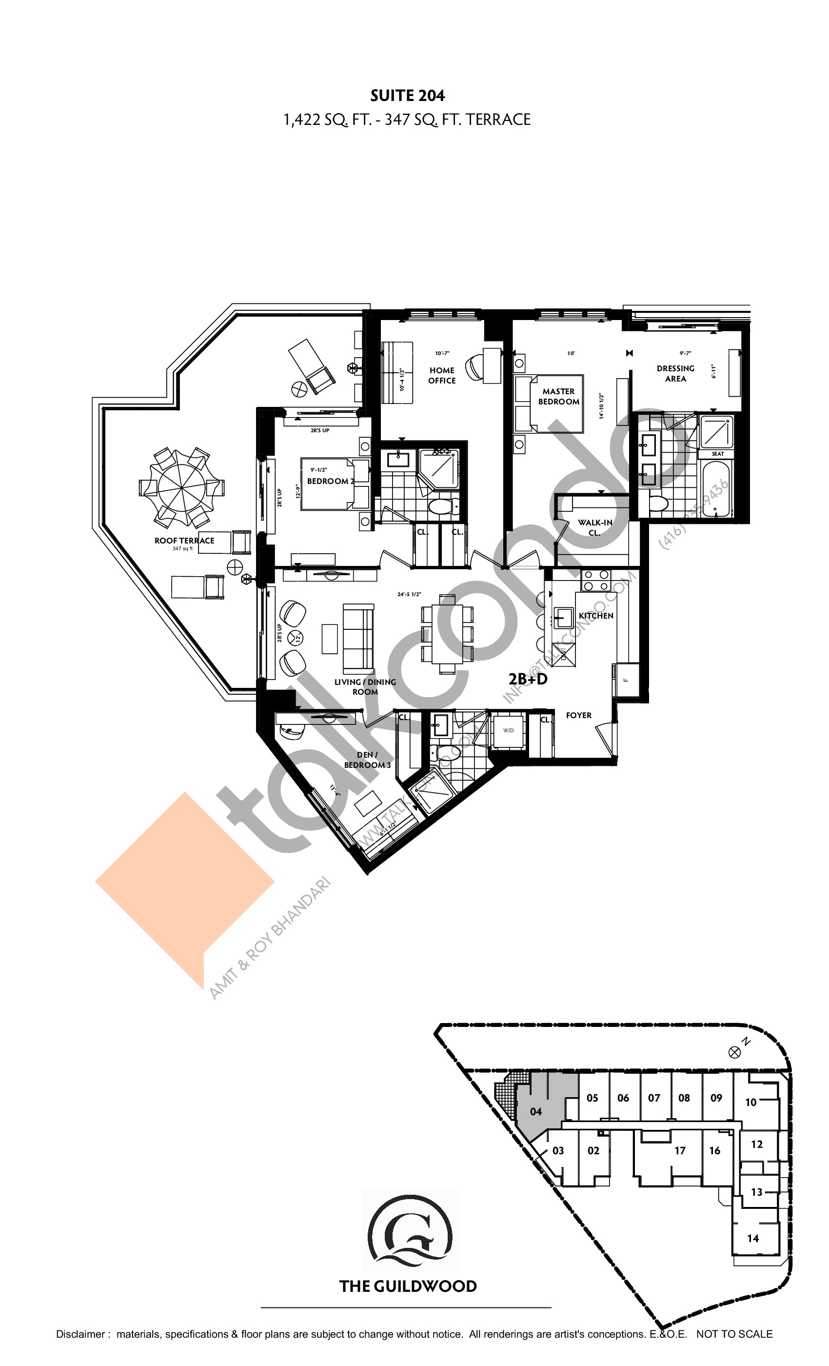 Suite 204 Floor Plan at Guildwood Condos - 1422 sq.ft