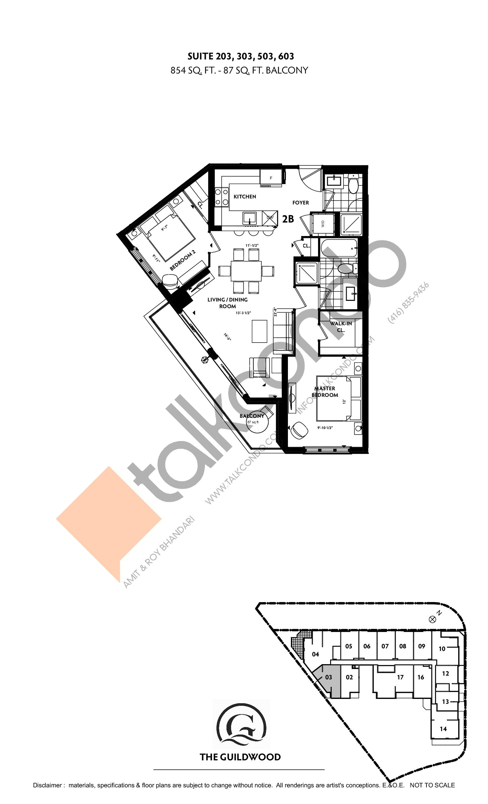 Suite 203, 303, 503, 603 Floor Plan at Guildwood Condos - 854 sq.ft