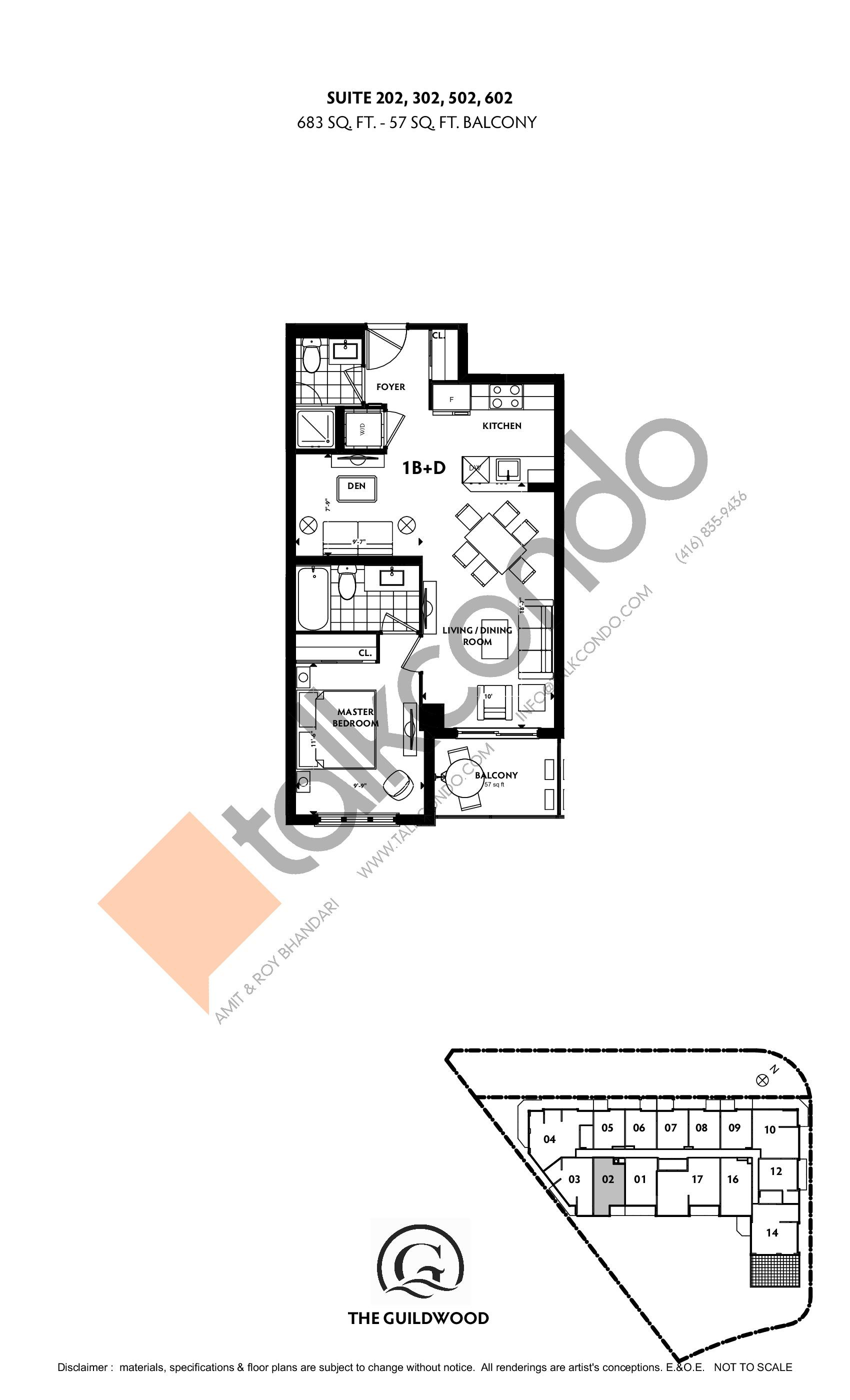 Suite 202, 302, 502, 602 Floor Plan at Guildwood Condos - 683 sq.ft