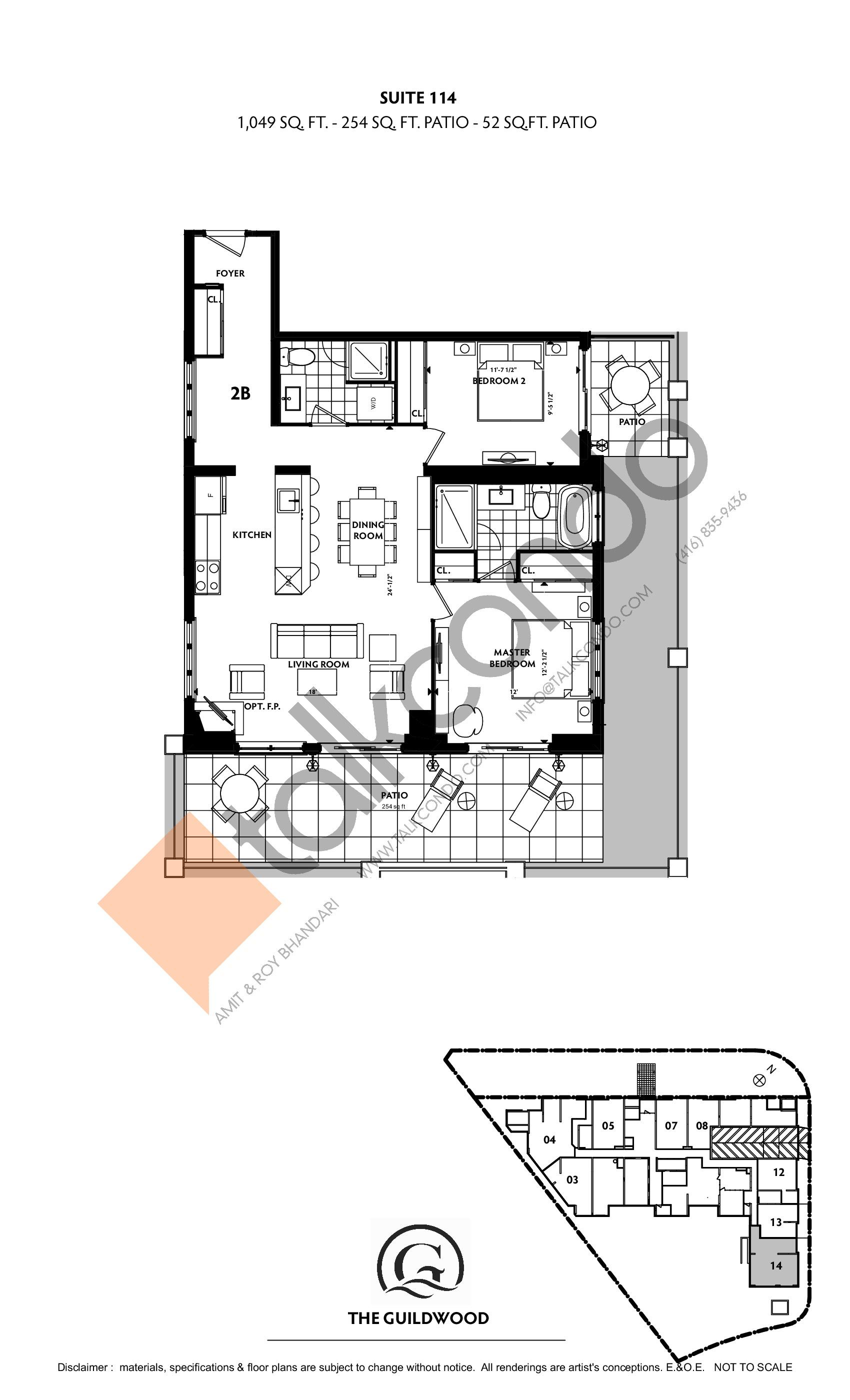Suite 114 Floor Plan at Guildwood Condos - 1049 sq.ft