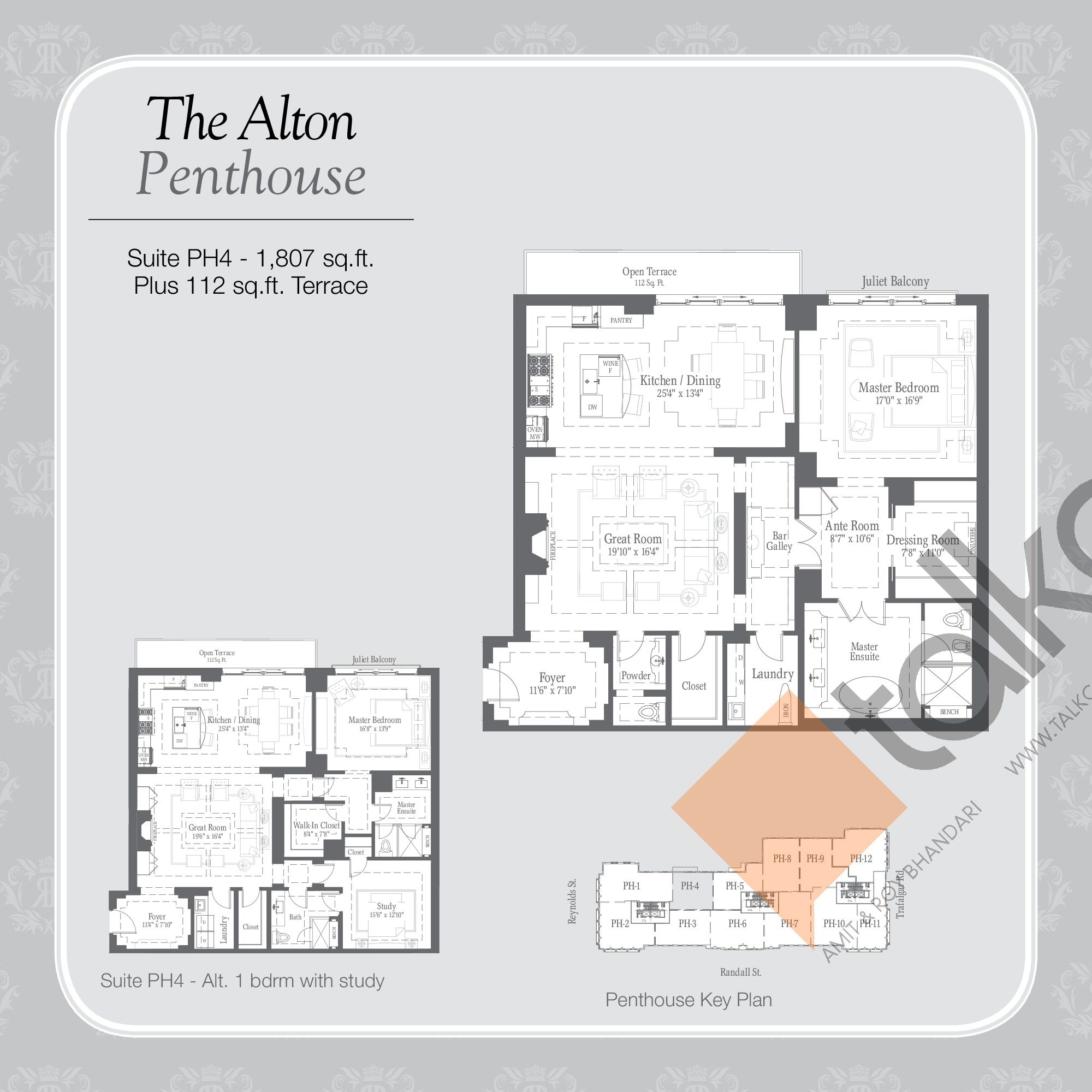 The Alton Penthouse Floor Plan at Randall Residences - 1807 sq.ft
