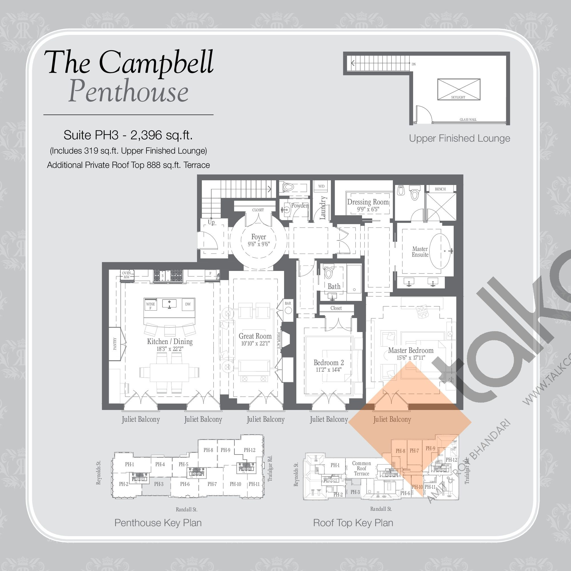 The Campbell Penthouse Floor Plan at Randall Residences - 2396 sq.ft