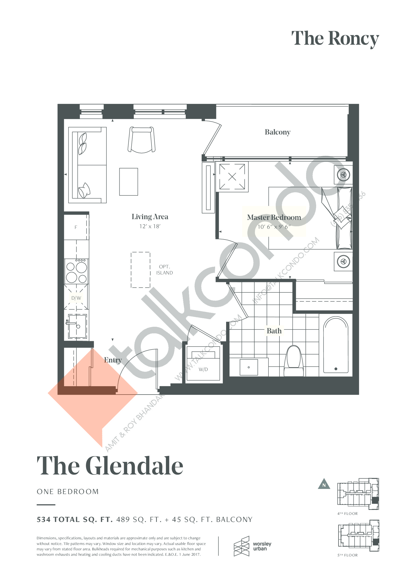 The Glendale Floor Plan at The Roncy Condos - 489 sq.ft