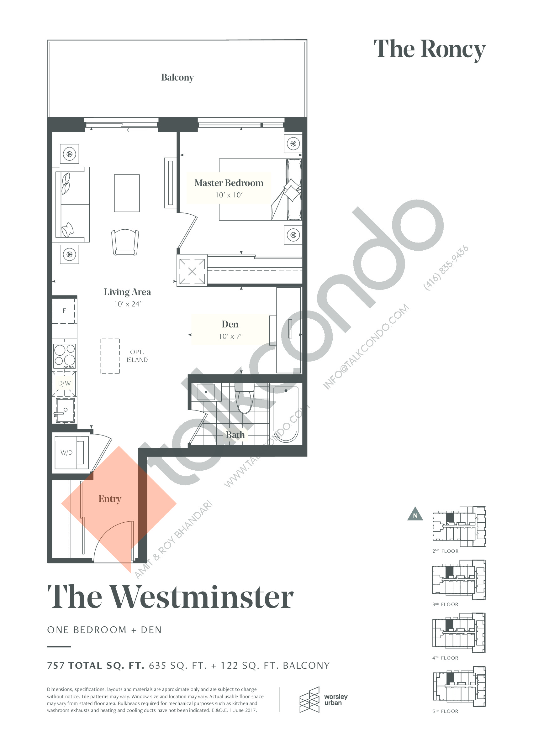 The Westminster Floor Plan at The Roncy Condos - 635 sq.ft