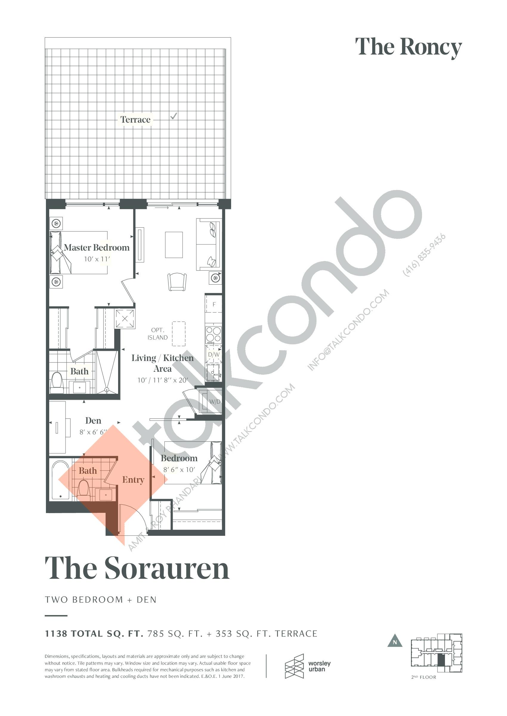 The Sorauren Floor Plan at The Roncy Condos - 785 sq.ft
