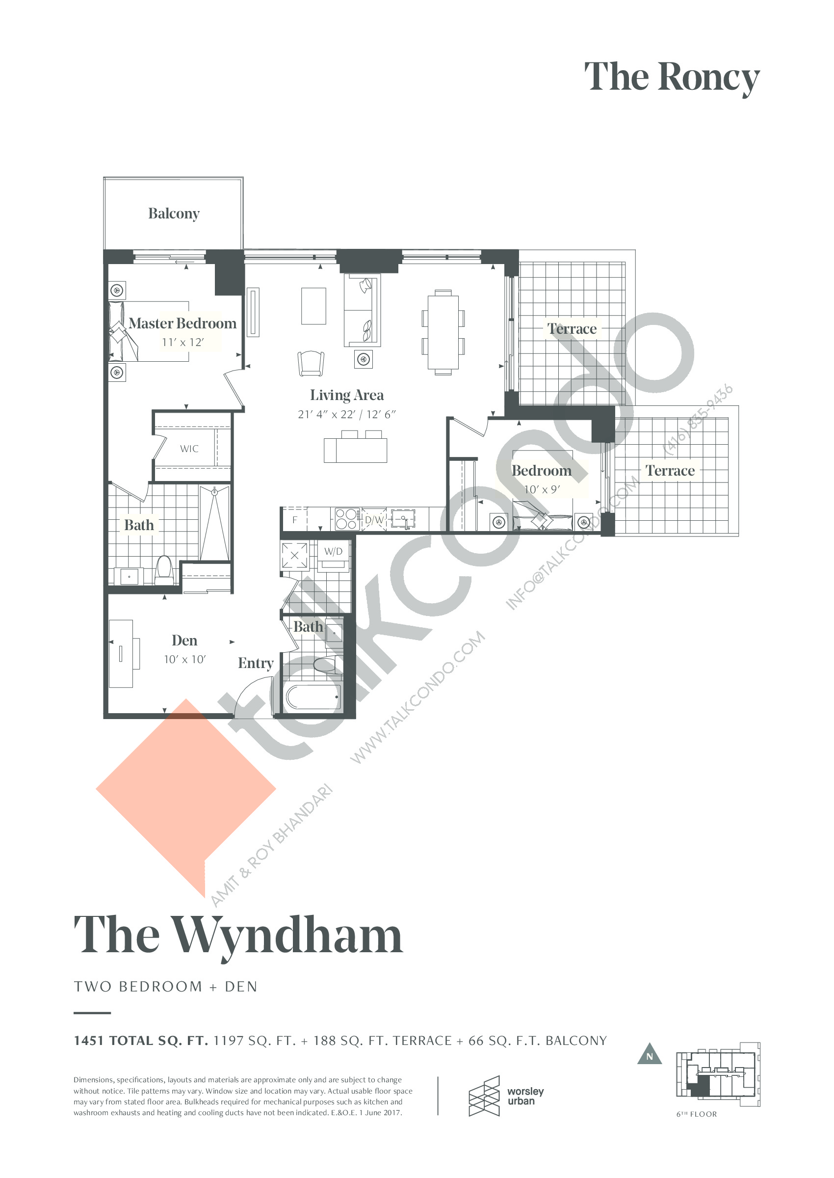 The Wyndham Floor Plan at The Roncy Condos - 1197 sq.ft
