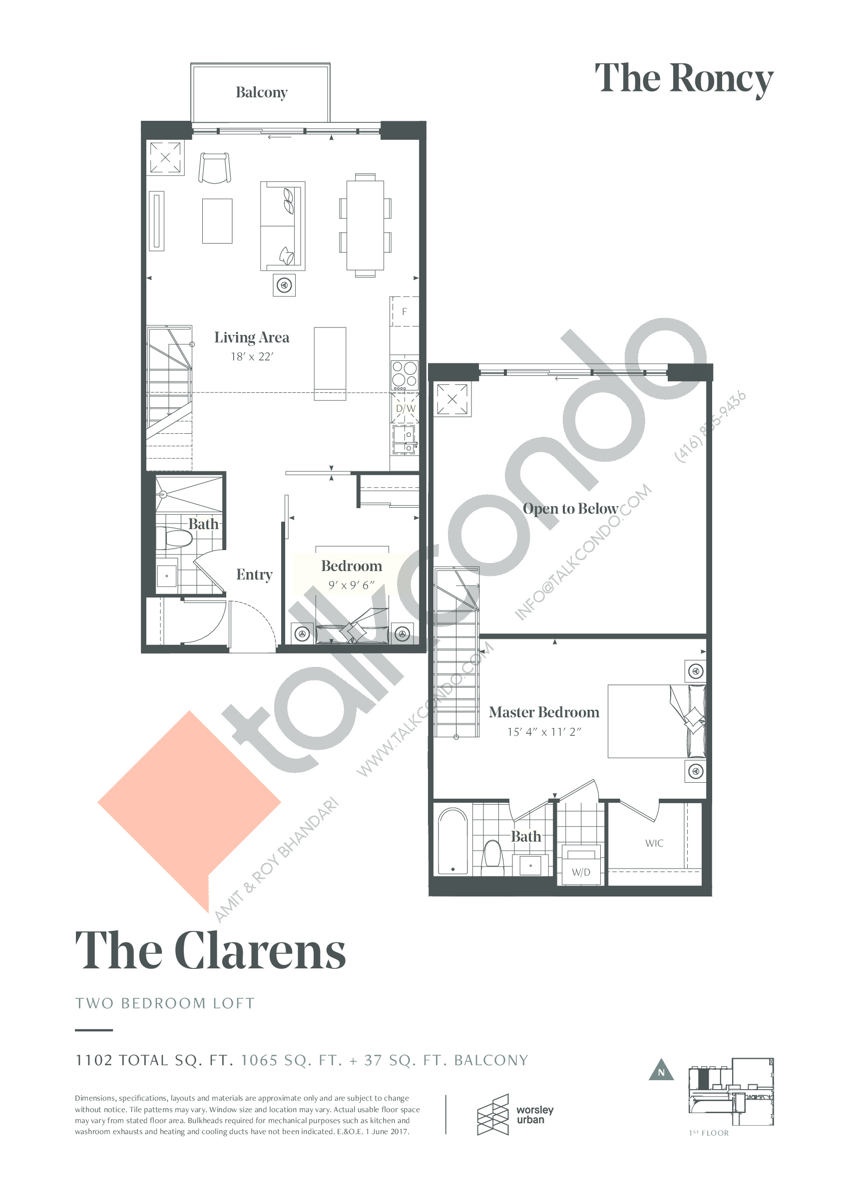The Clarens Floor Plan at The Roncy Condos - 1065 sq.ft