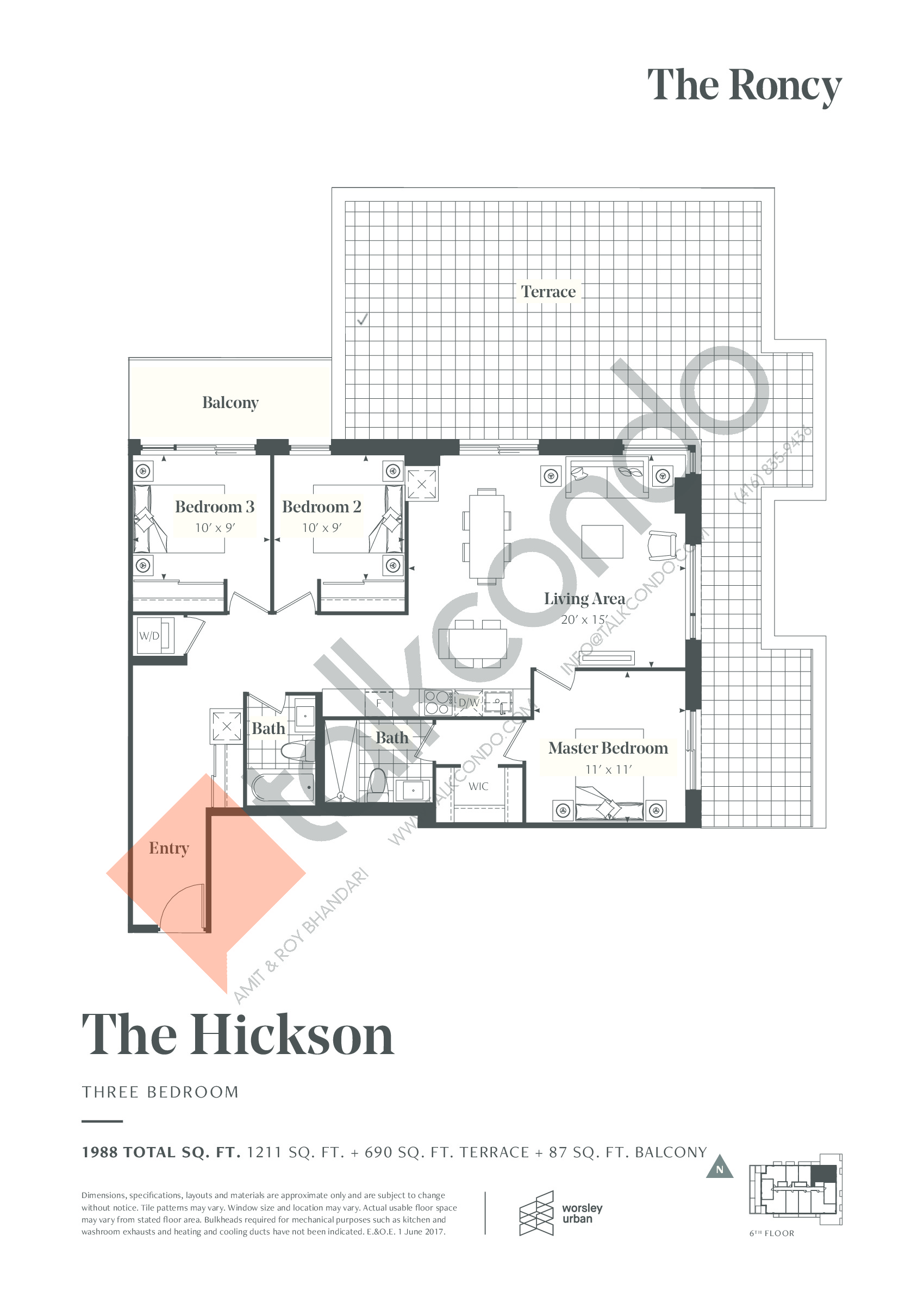 The Hickson Floor Plan at The Roncy Condos - 1211 sq.ft