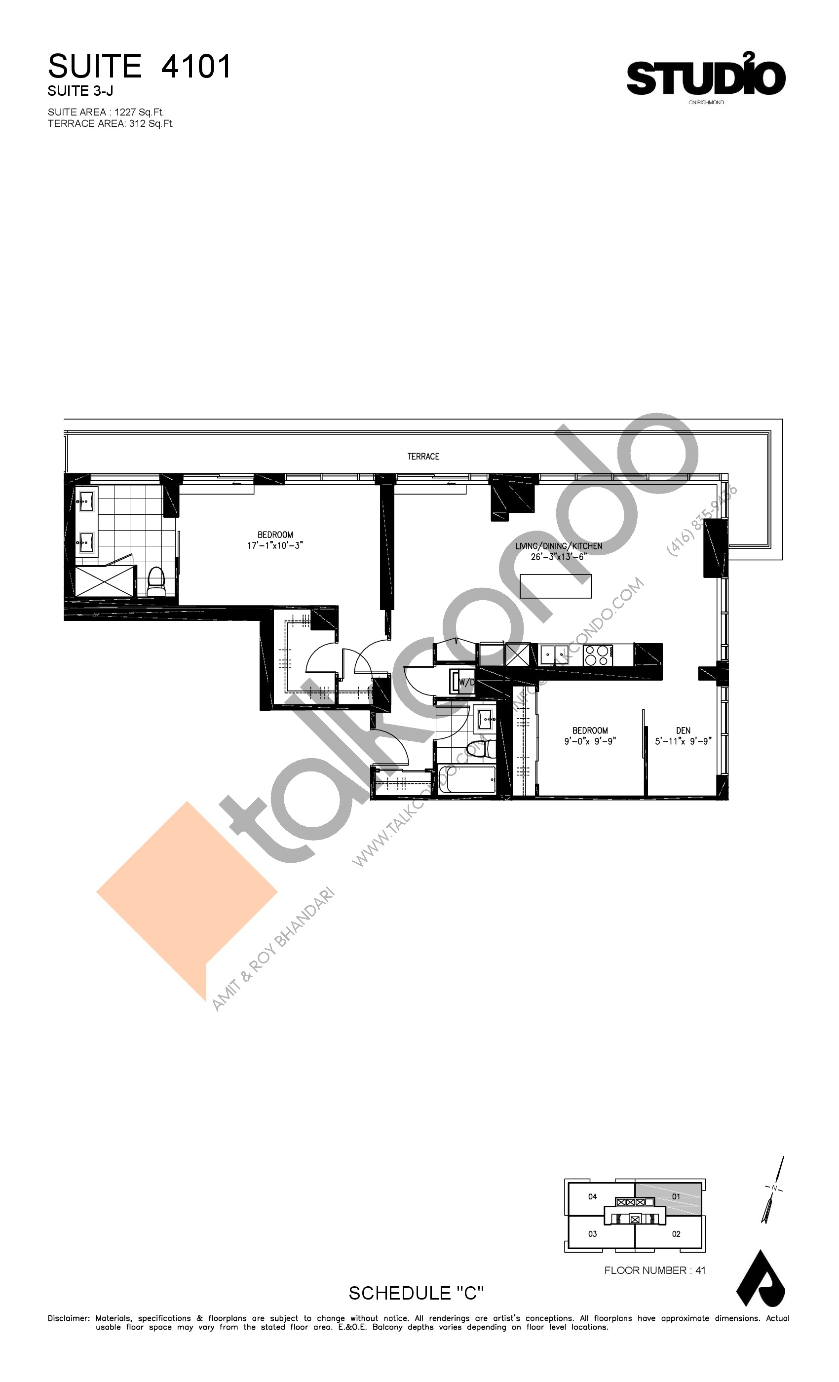 Suite 4101 - 3-J Floor Plan at Studio 2 Condos - 1227 sq.ft