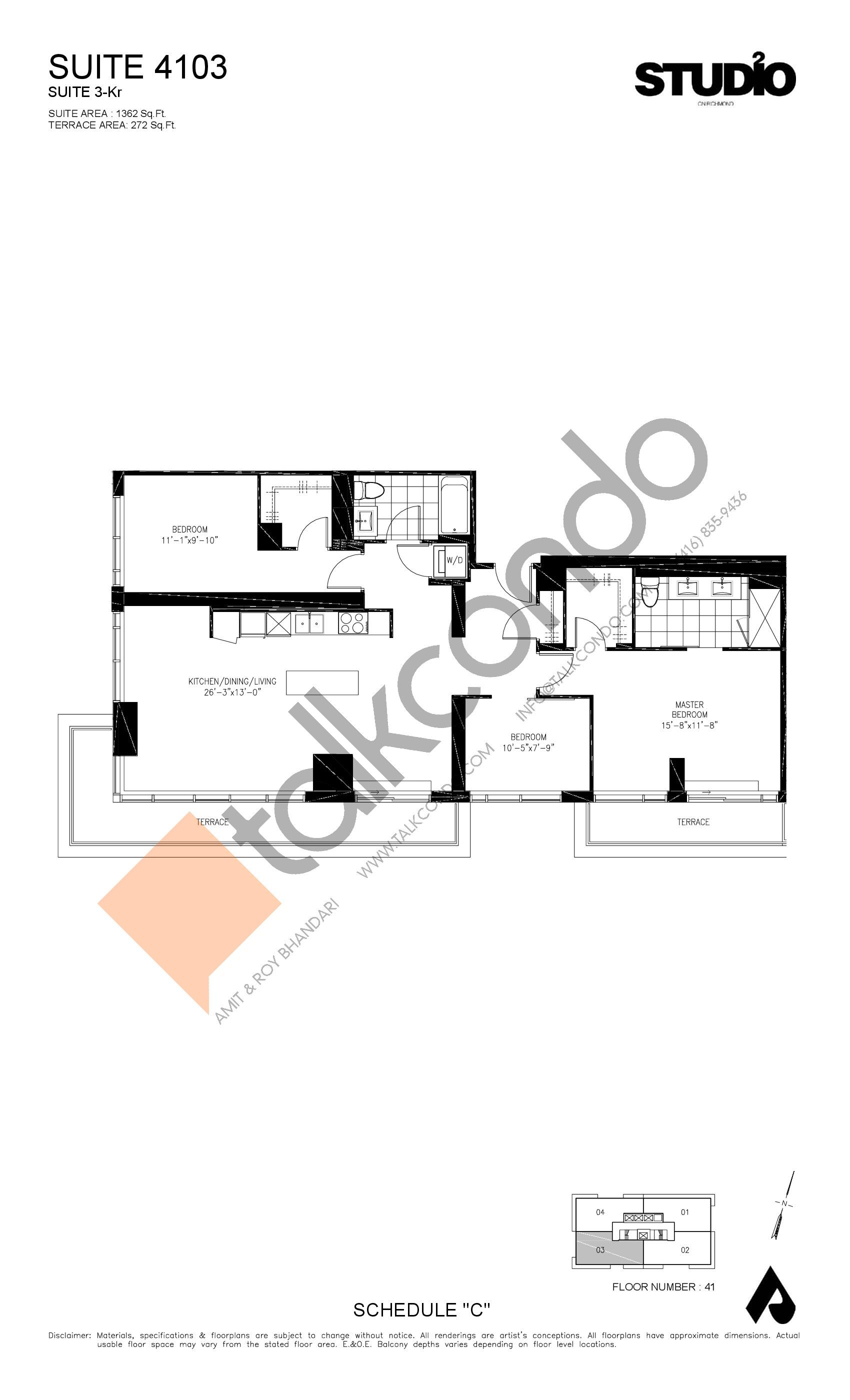 Suite 4103 - 3-Kr Floor Plan at Studio 2 Condos - 1362 sq.ft