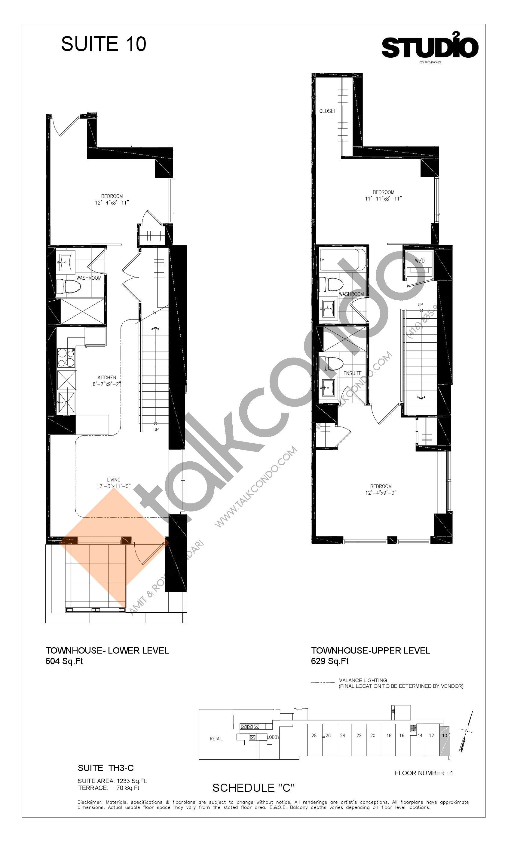 Suite 10 - TH3-C Floor Plan at Studio 2 Condos - 1233 sq.ft