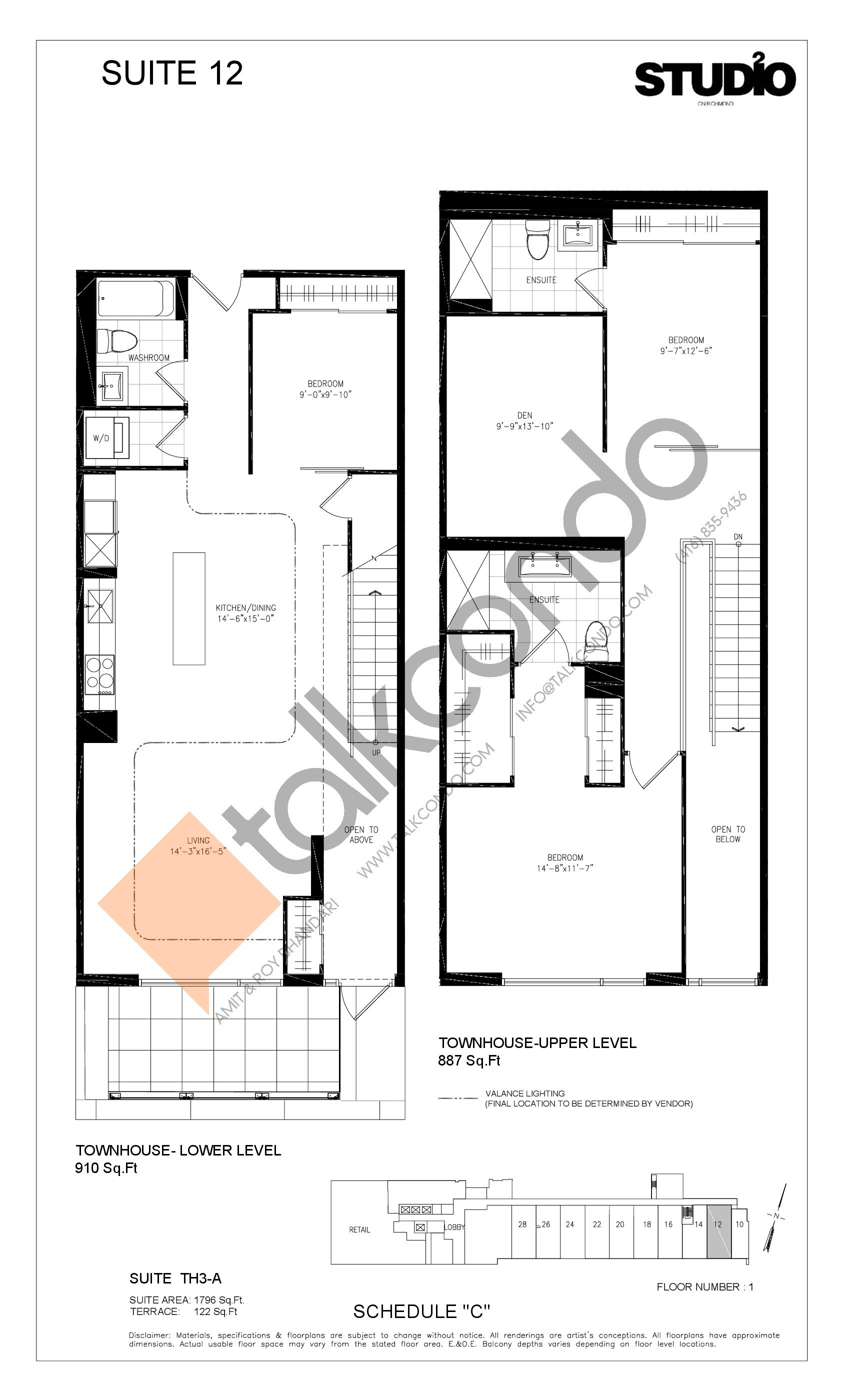Suite 12 - TH3-A Floor Plan at Studio 2 Condos - 1796 sq.ft