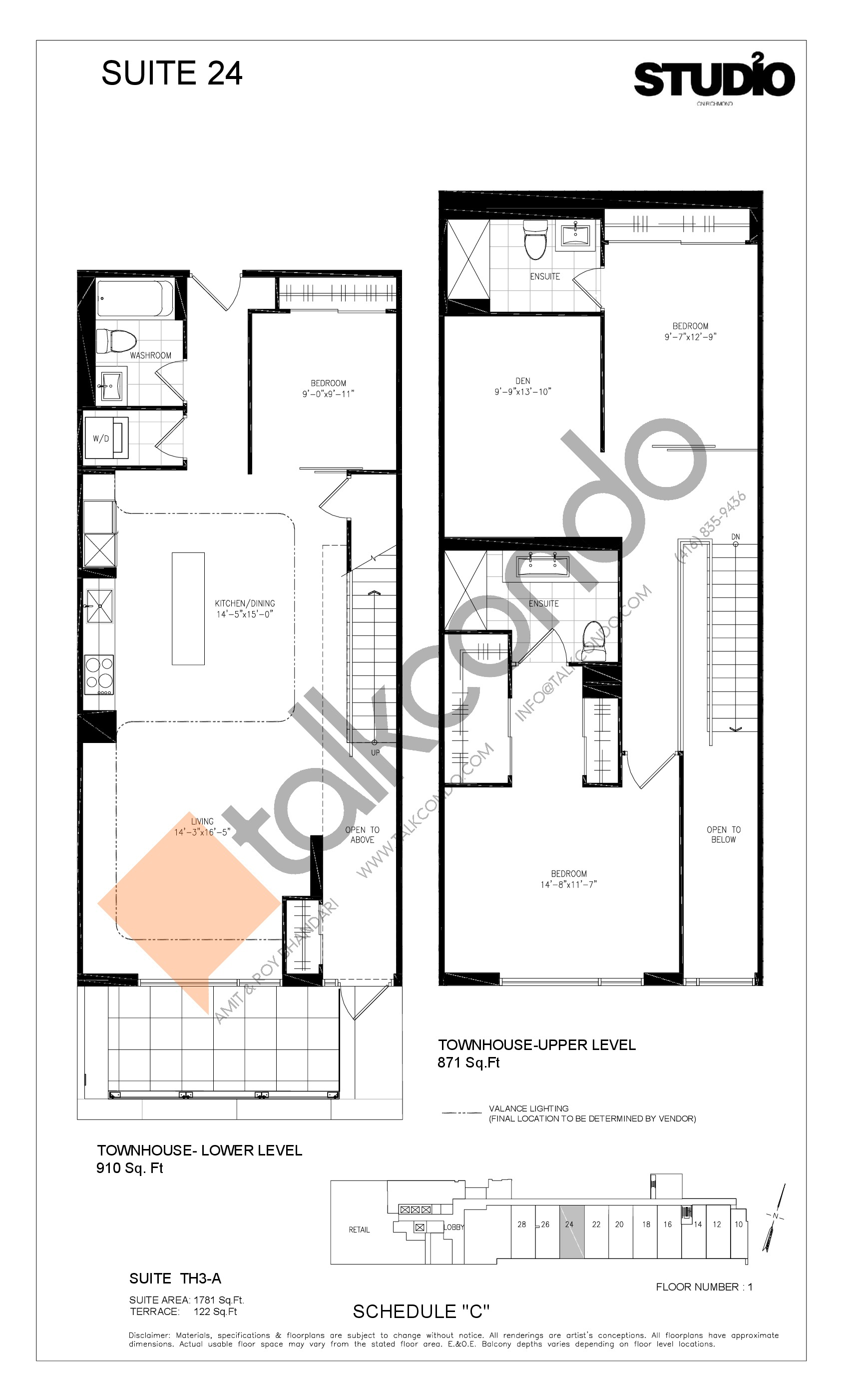 Suite 24 - TH3-A Floor Plan at Studio 2 Condos - 1781 sq.ft