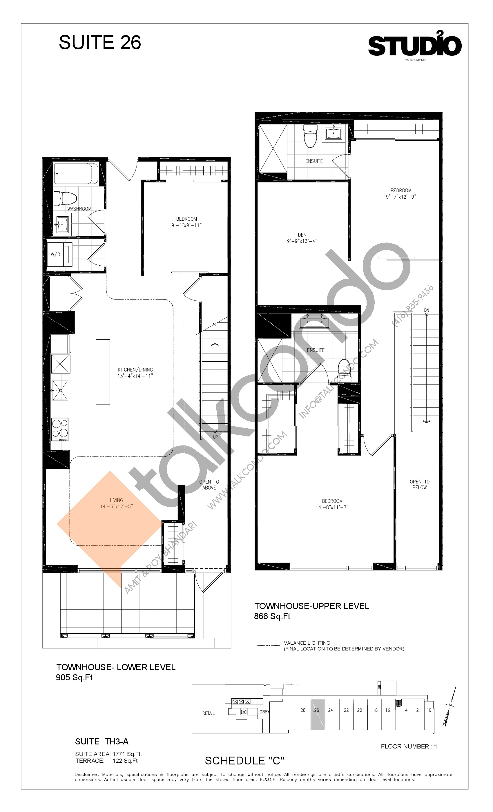 Suite 26 - TH3-A Floor Plan at Studio 2 Condos - 1771 sq.ft