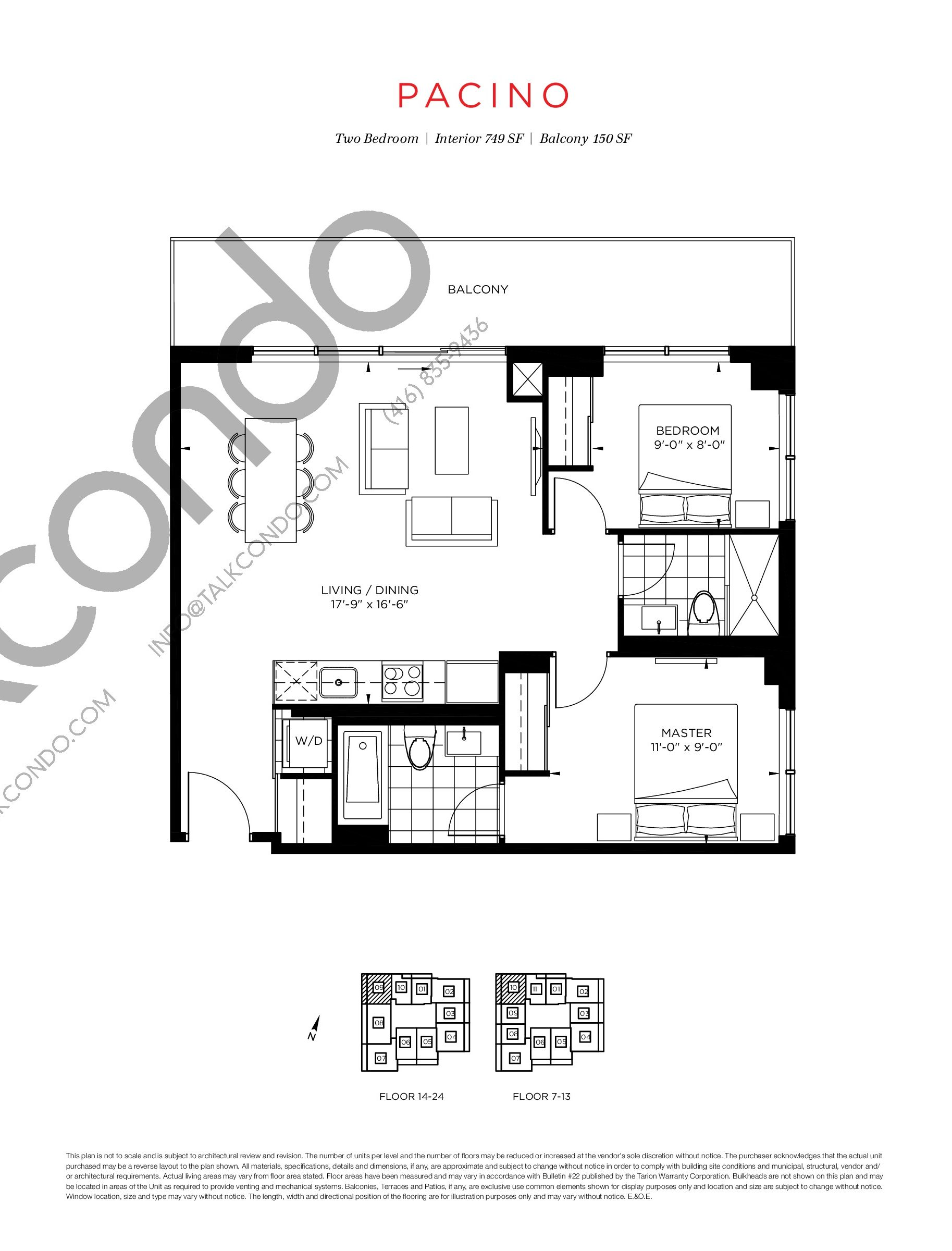 Pacino Floor Plan at The Point at Emerald City Condos - 749 sq.ft