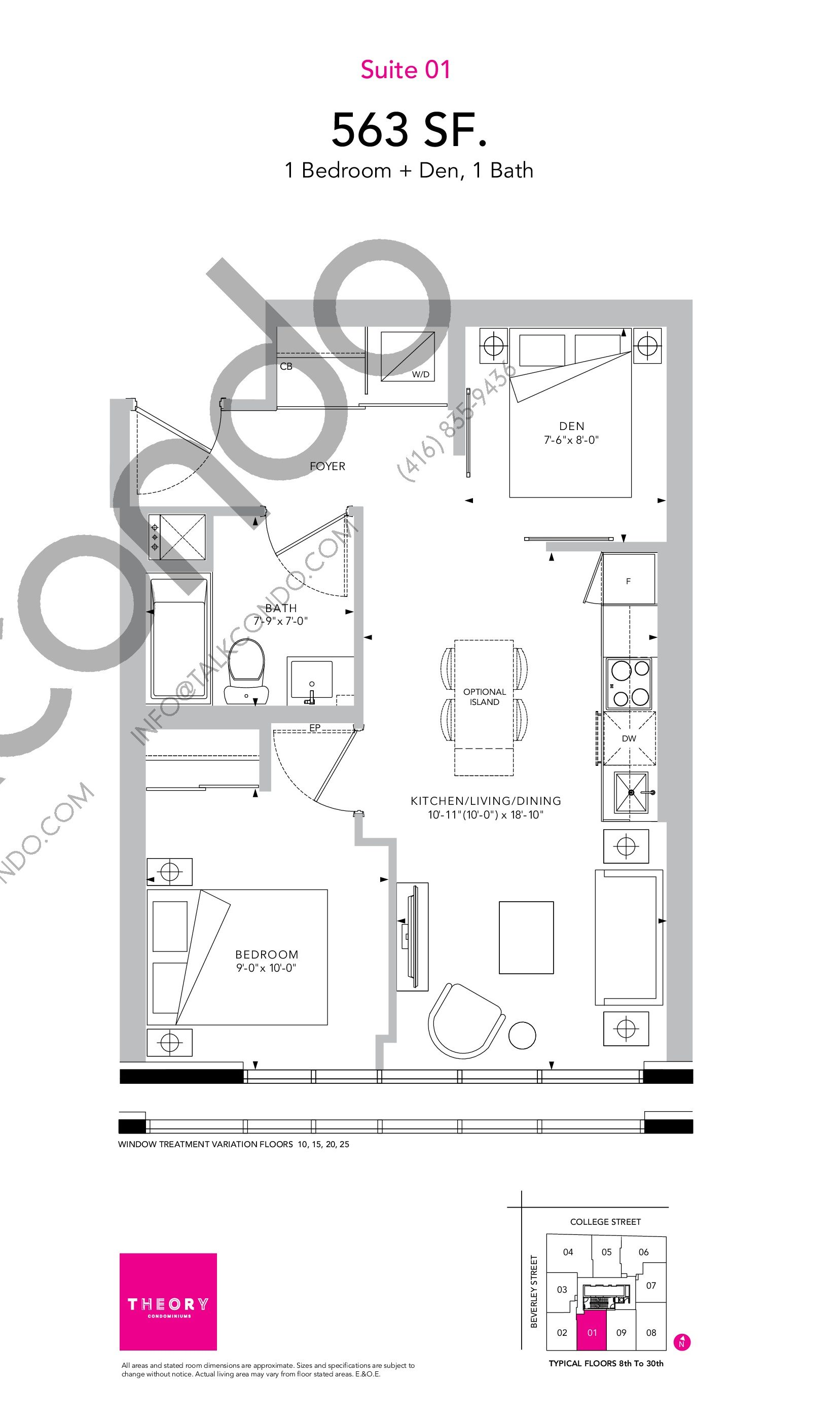 Suite 01 Floor Plan at Theory Condos - 563 sq.ft