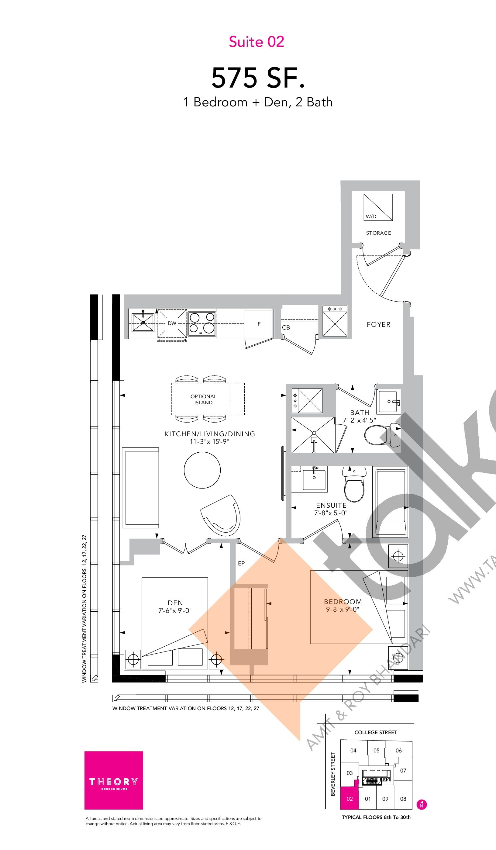 Suite 02 Floor Plan at Theory Condos - 575 sq.ft