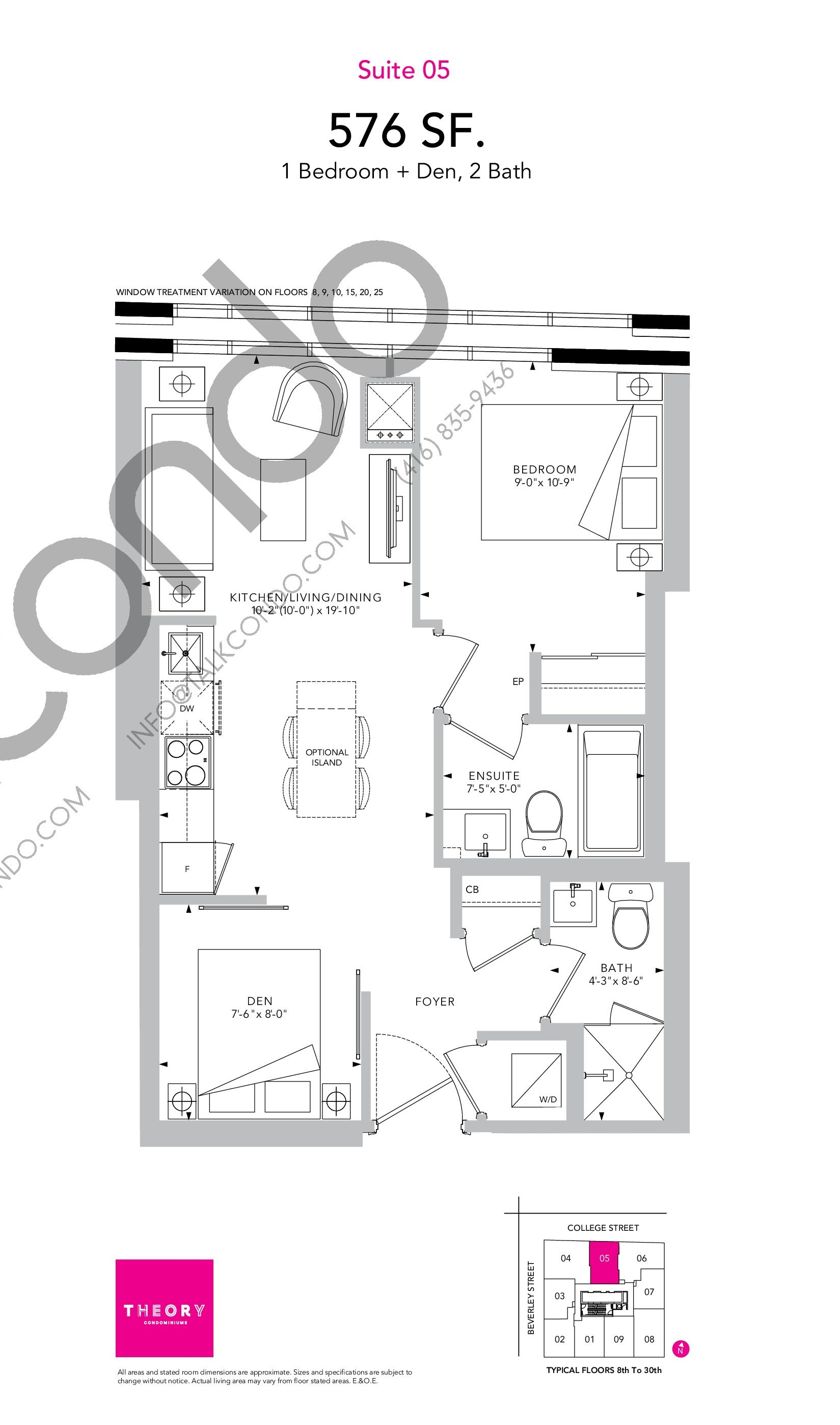 Suite 05 Floor Plan at Theory Condos - 576 sq.ft