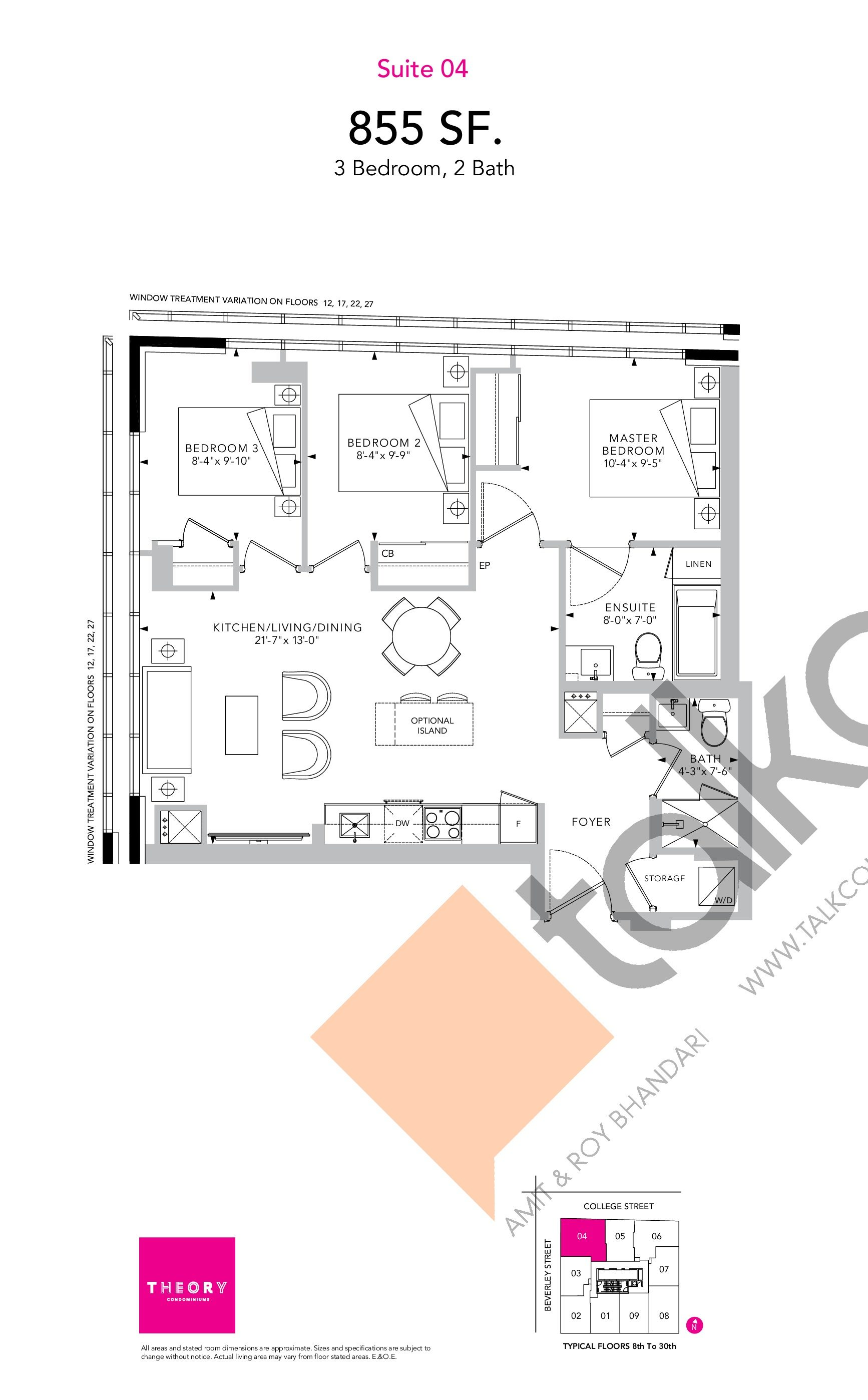 Suite 04 Floor Plan at Theory Condos - 855 sq.ft