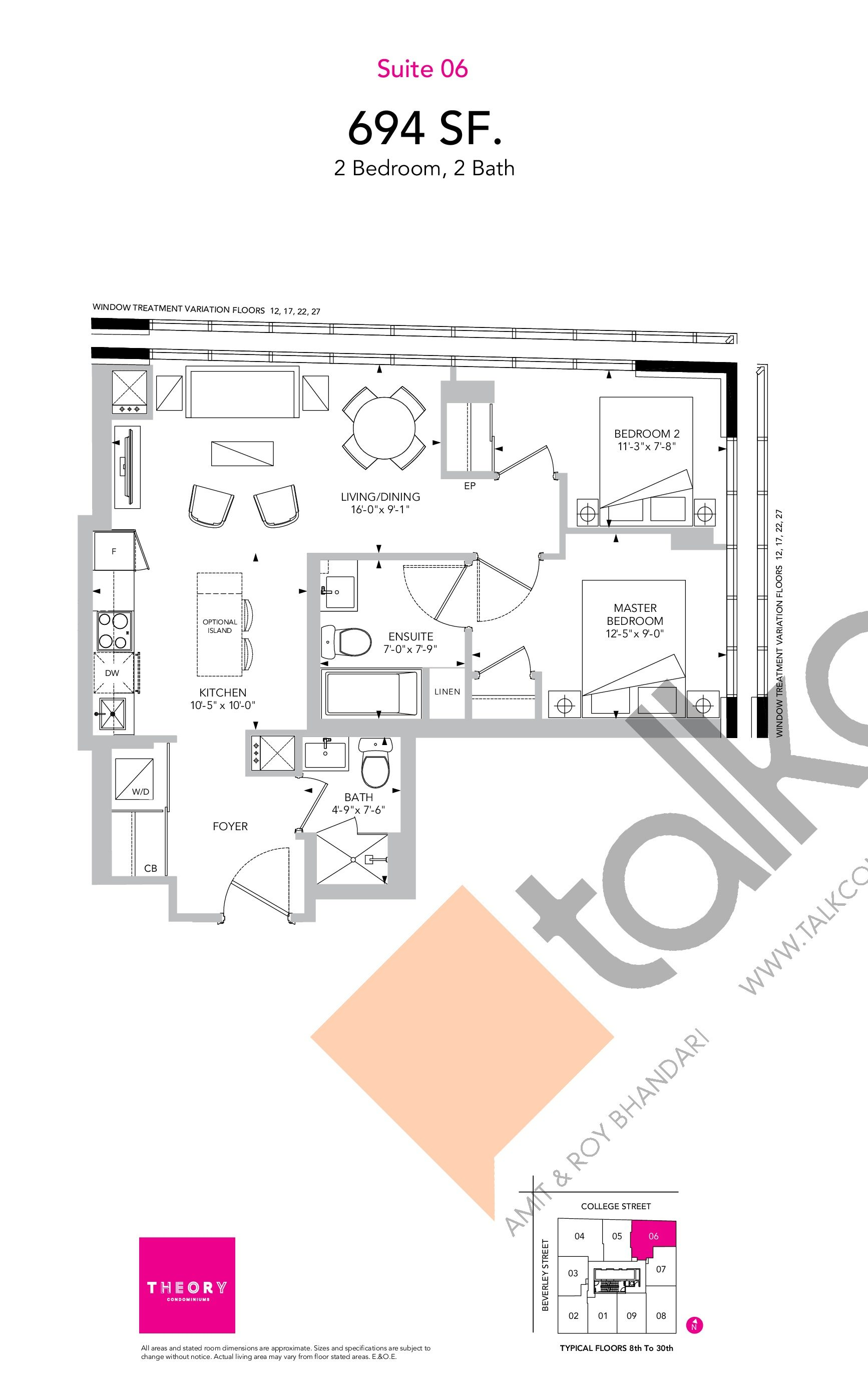 Suite 06 Floor Plan at Theory Condos - 694 sq.ft