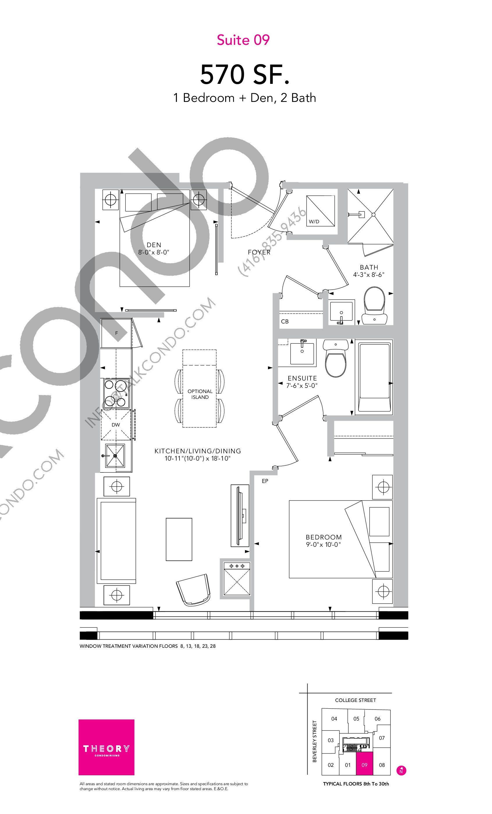 Suite 09 Floor Plan at Theory Condos - 570 sq.ft