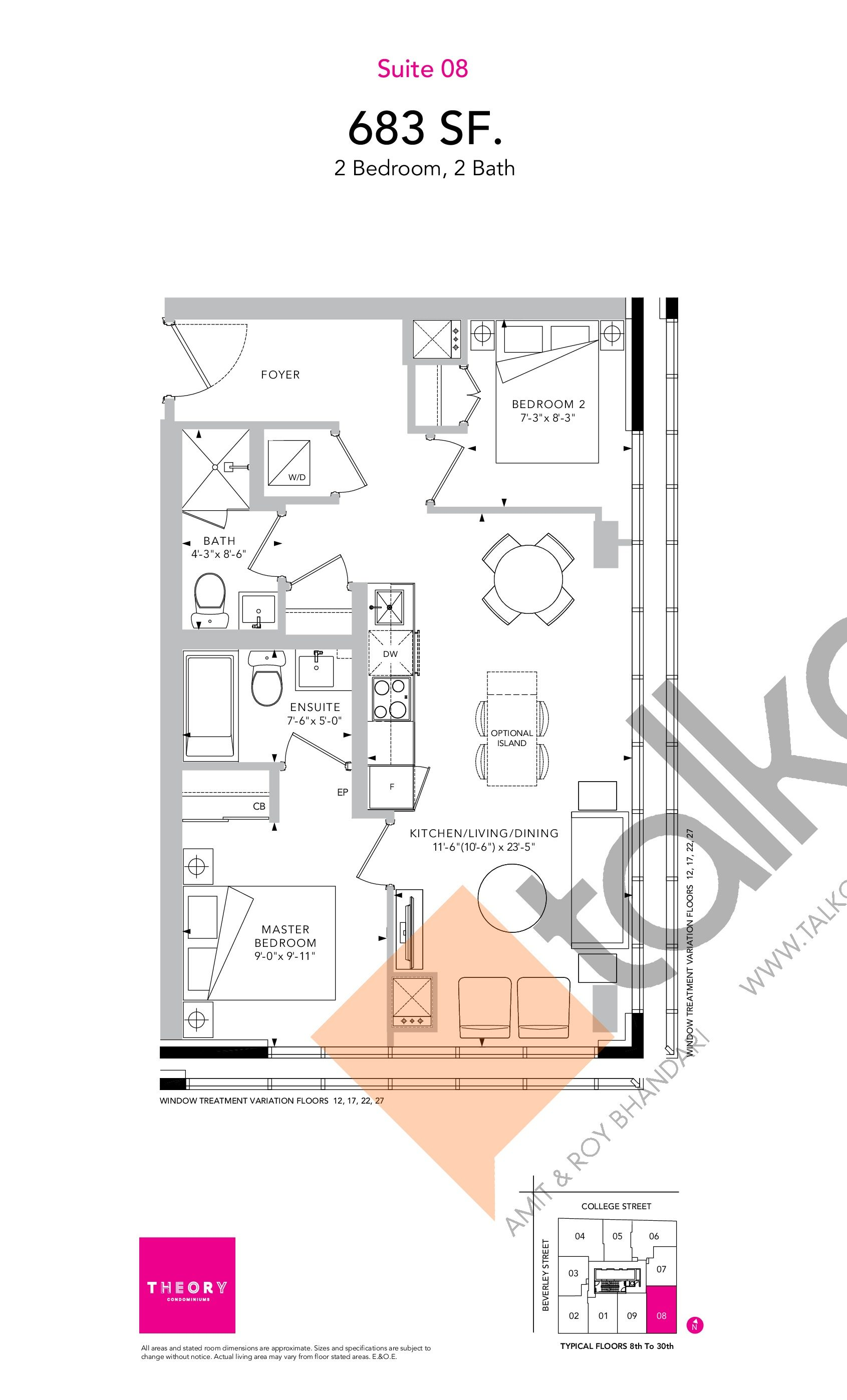 Suite 08 Floor Plan at Theory Condos - 683 sq.ft