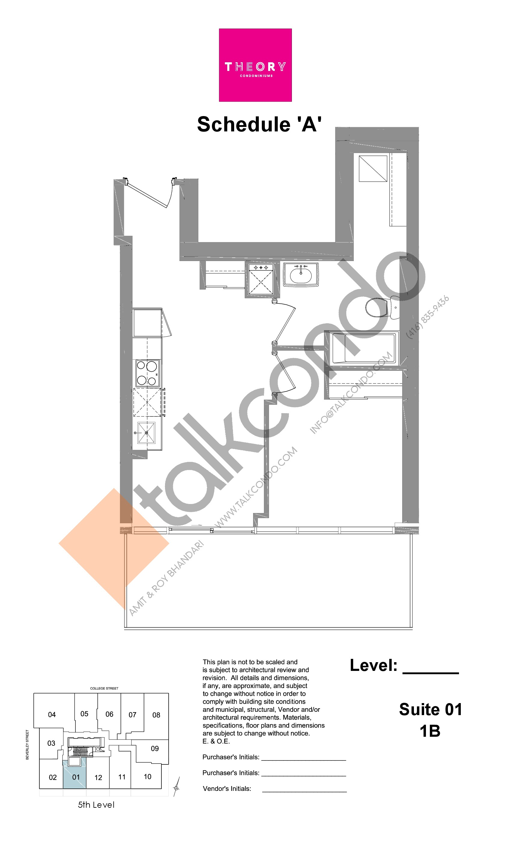 Suite 01 - 1B Floor Plan at Theory Condos - sq.ft