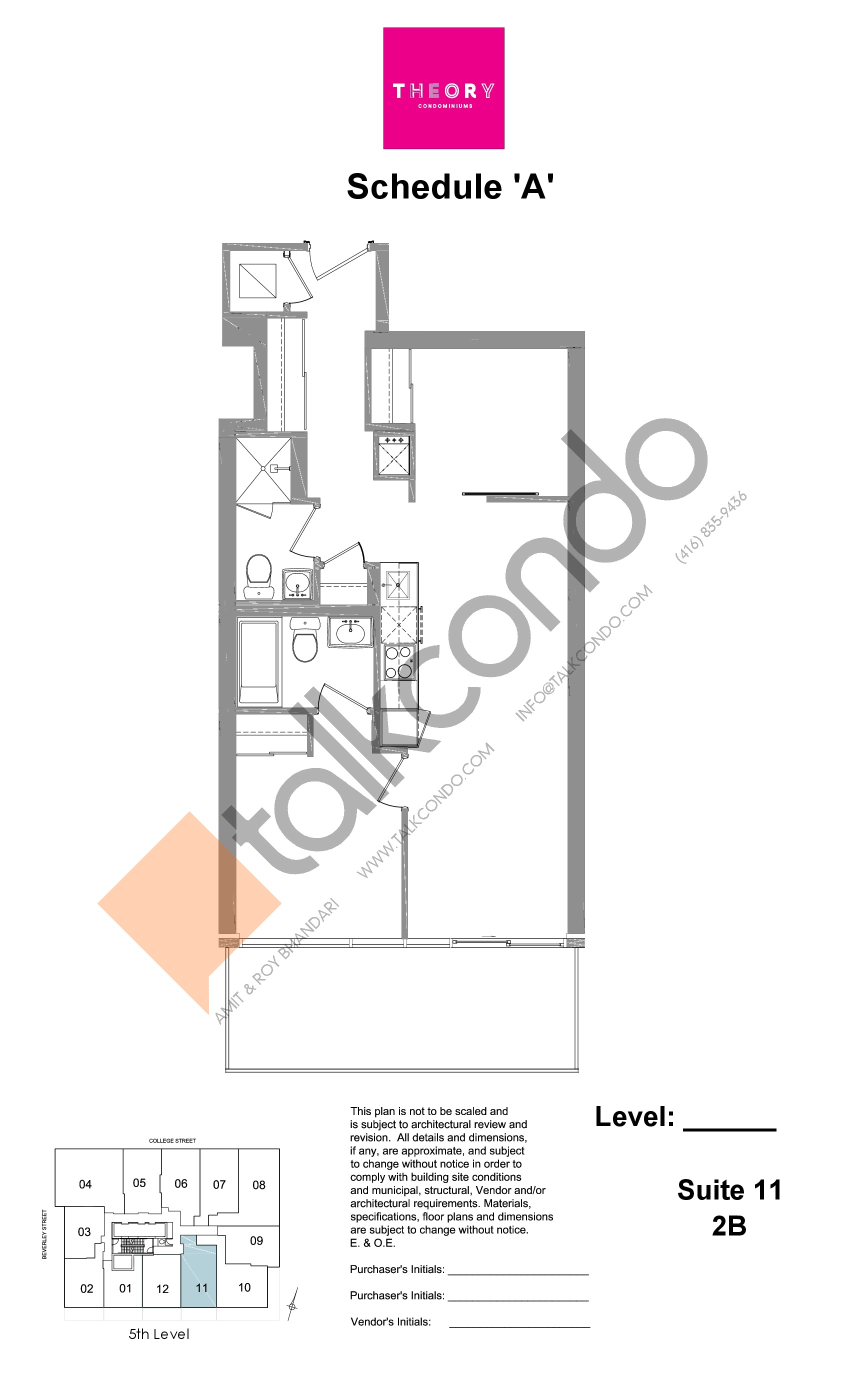 Suite 11 - 2B Floor Plan at Theory Condos - sq.ft
