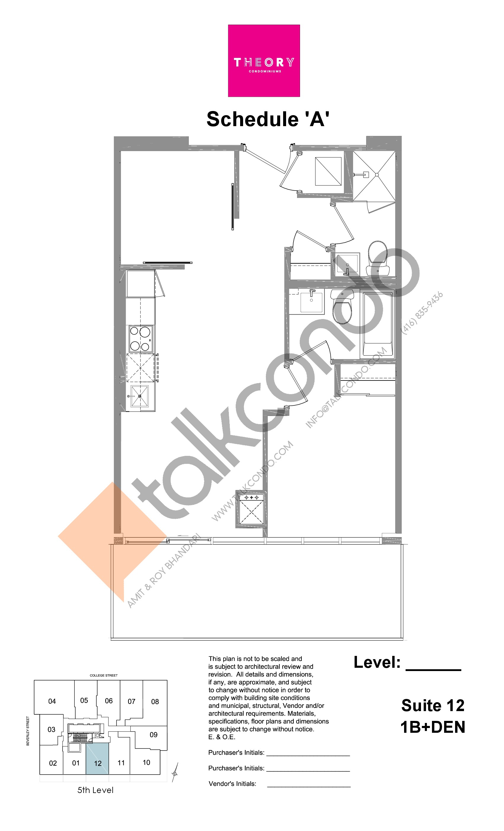Suite 12 - 1B+Den Floor Plan at Theory Condos - sq.ft