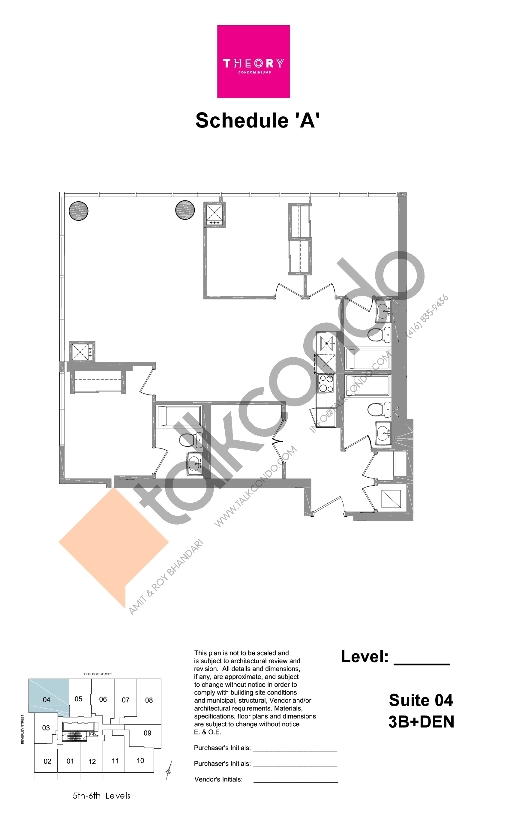 Suite 04 - 3B+Den Floor Plan at Theory Condos -  sq.ft