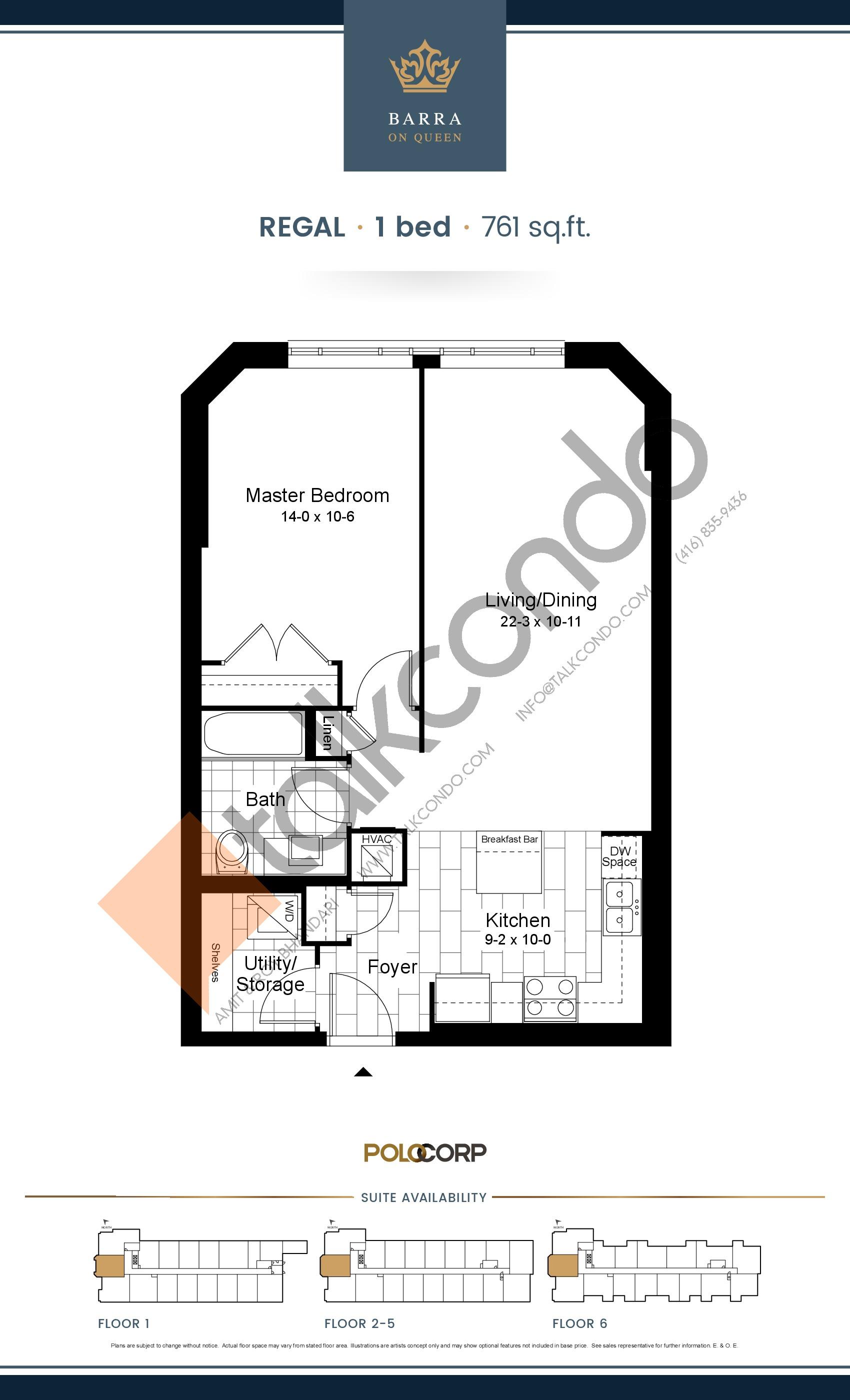 Regal Floor Plan at Barra on Queen Condos - 761 sq.ft