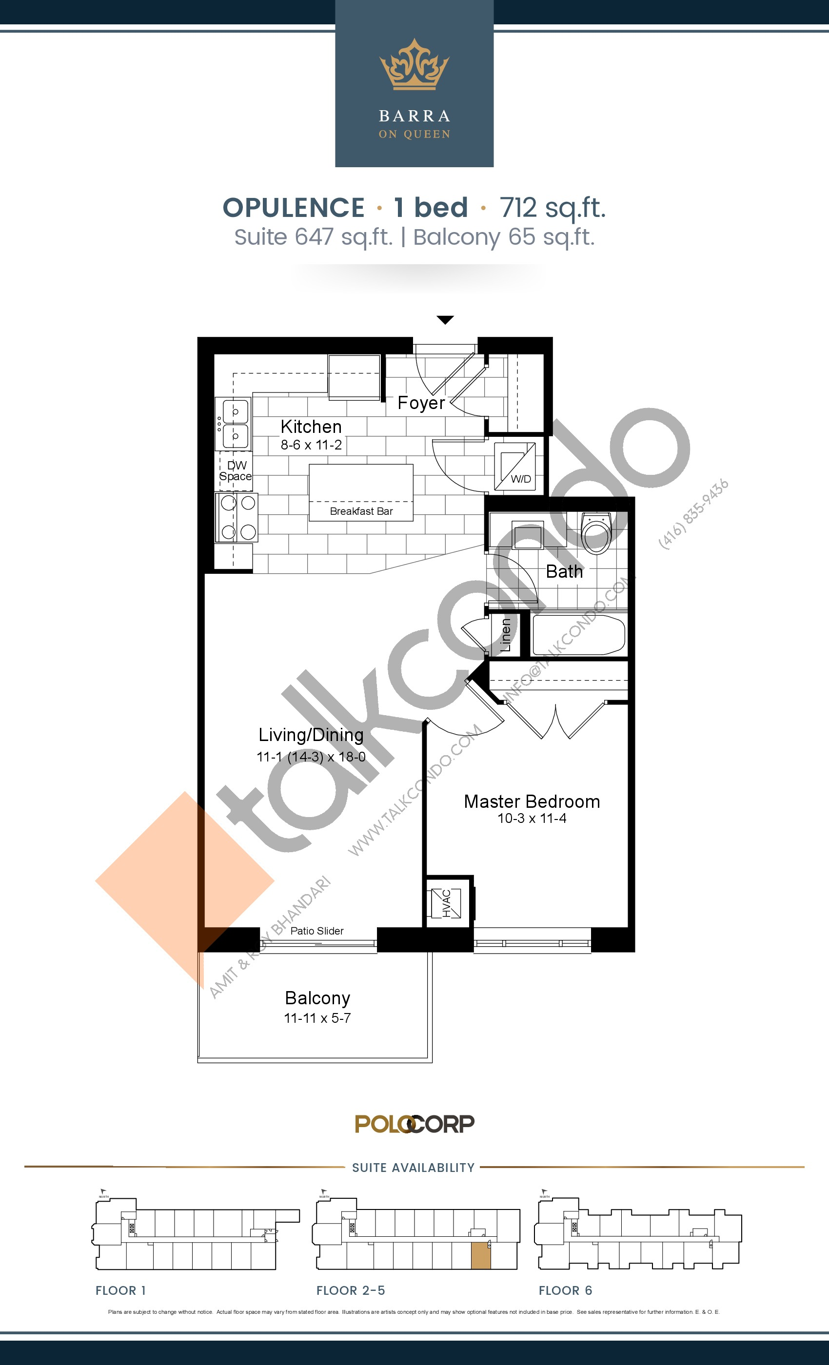 Opulence Floor Plan at Barra on Queen Condos - 647 sq.ft