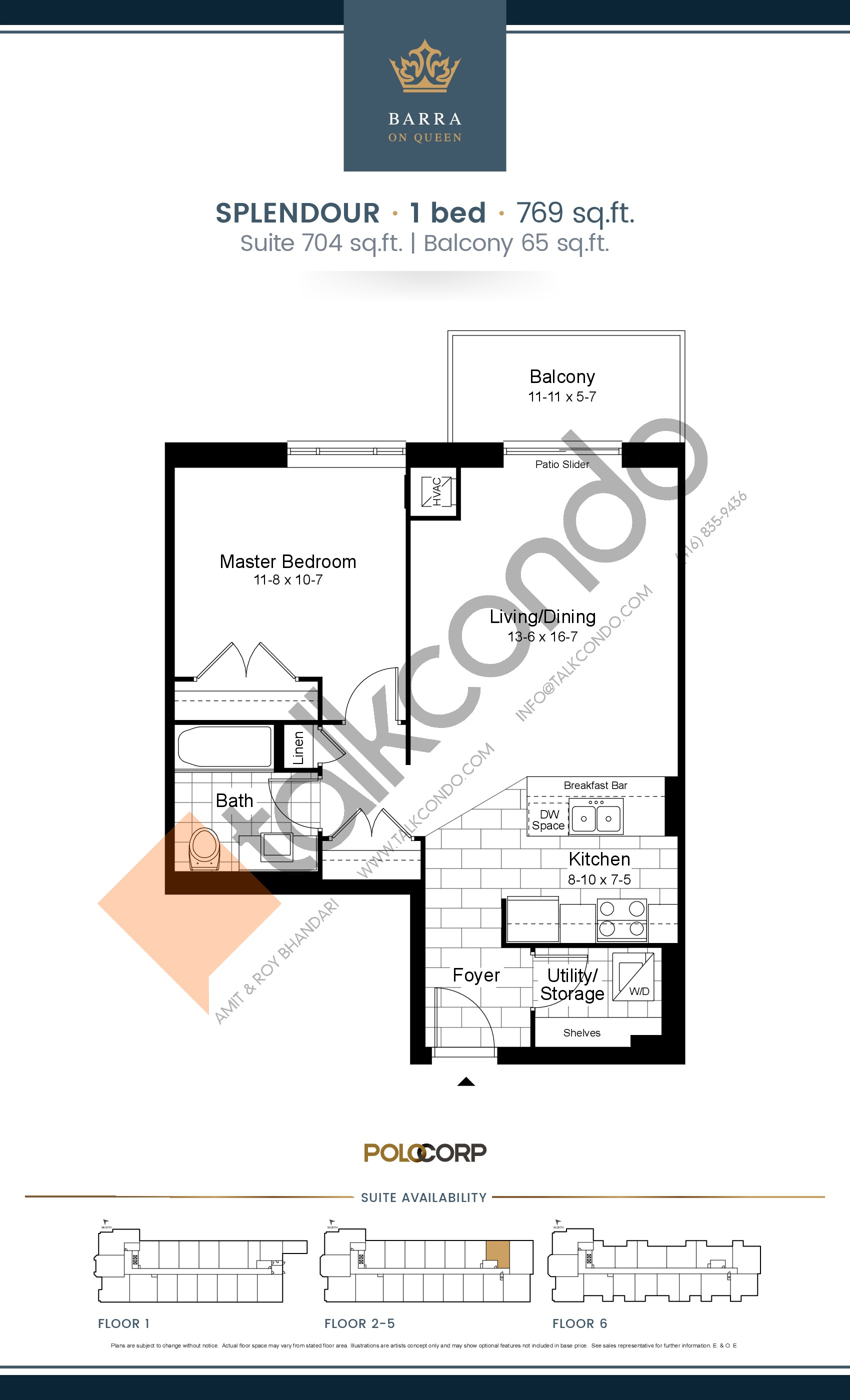 Splendour Floor Plan at Barra on Queen Condos - 704 sq.ft