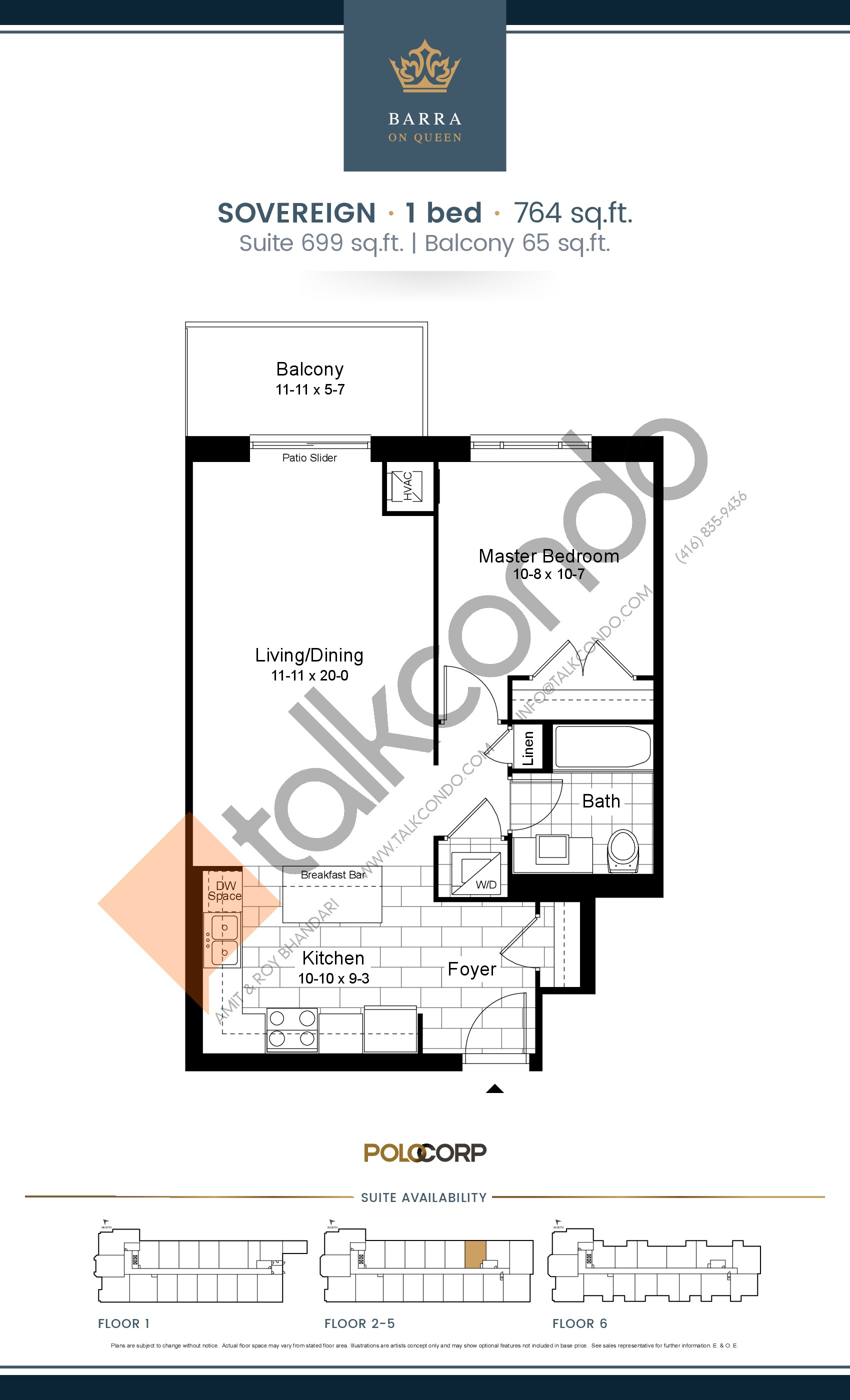Sovereign Floor Plan at Barra on Queen Condos - 699 sq.ft