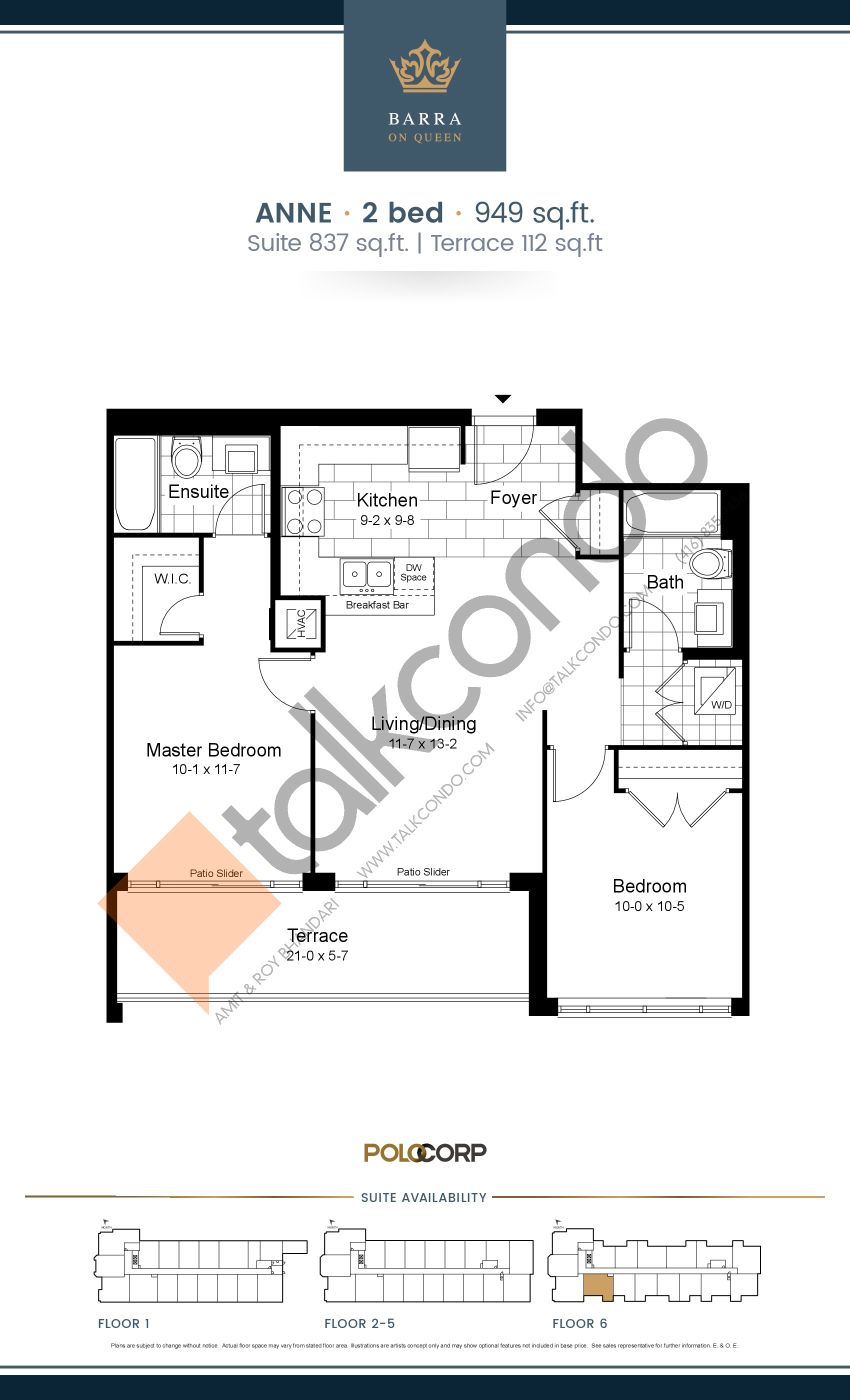 Anne Floor Plan at Barra on Queen Condos - 837 sq.ft