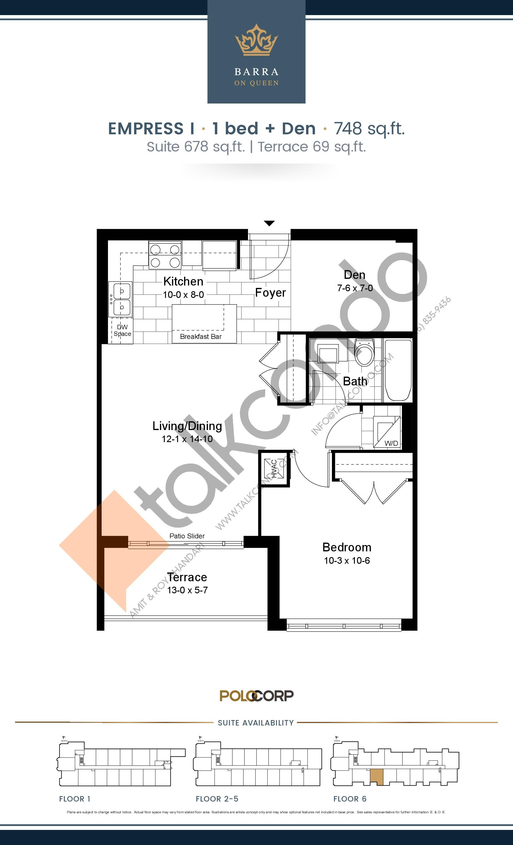 Empress I Floor Plan at Barra on Queen Condos - 678 sq.ft