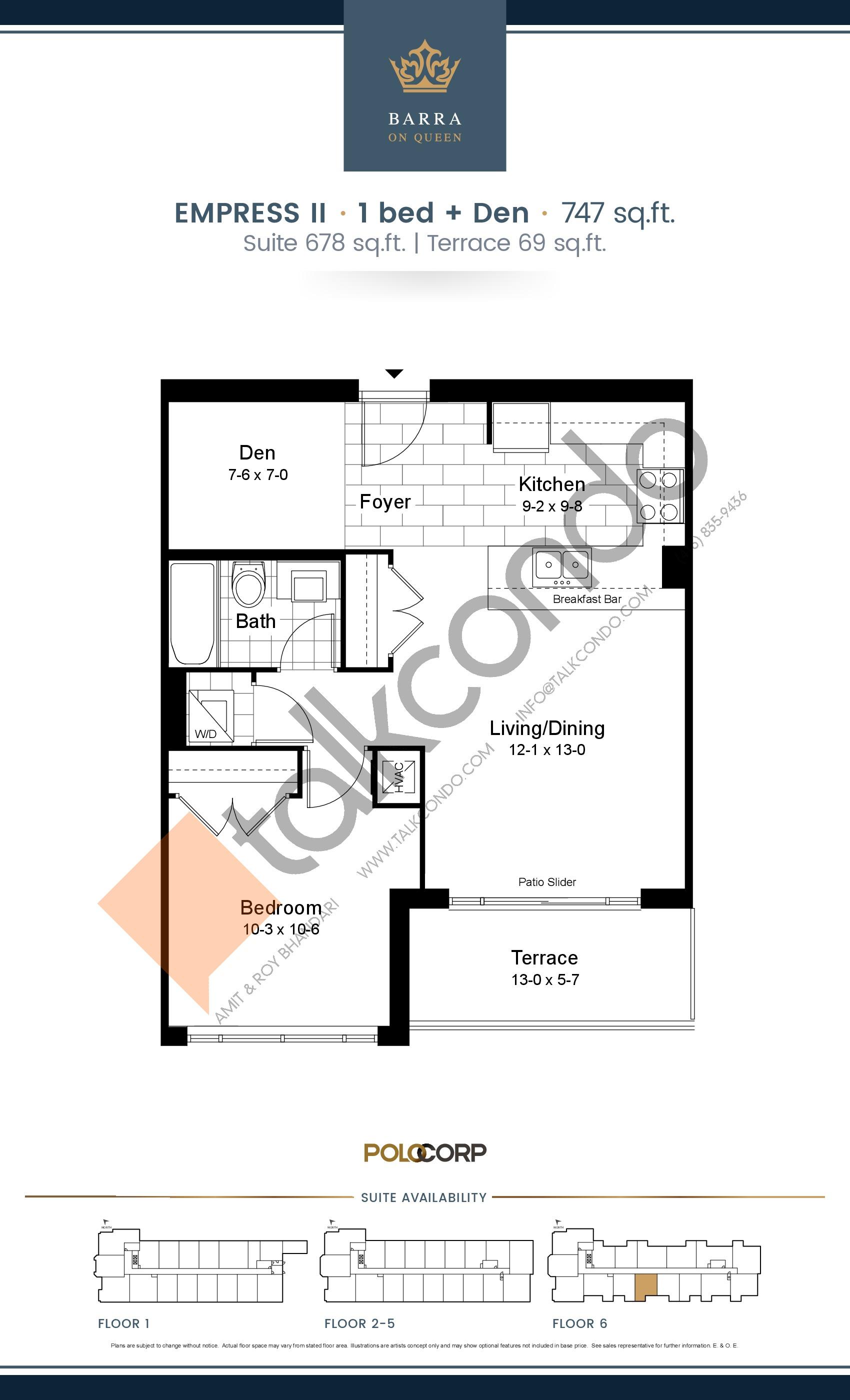 Empress II Floor Plan at Barra on Queen Condos - 678 sq.ft
