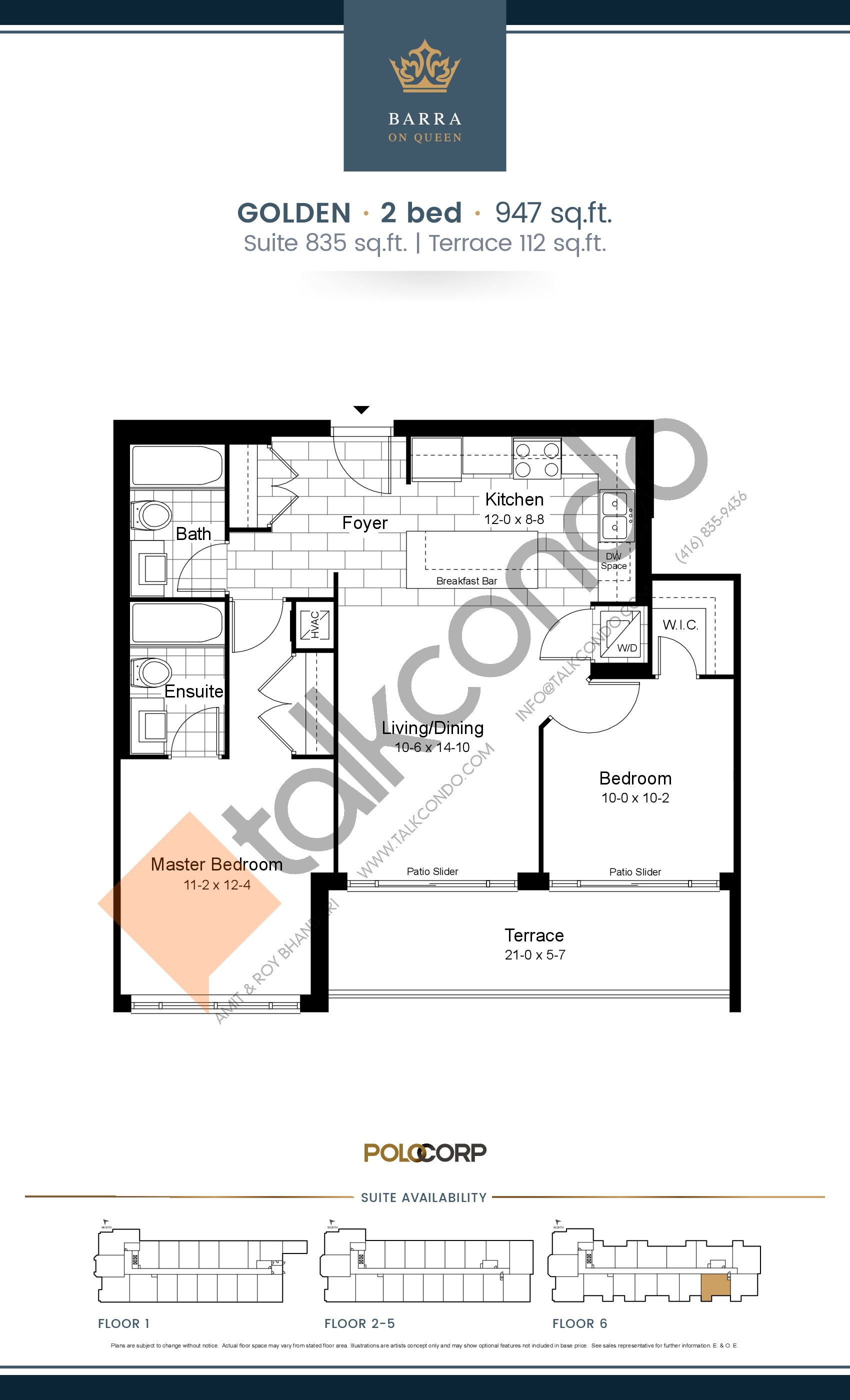 Golden Floor Plan at Barra on Queen Condos - 835 sq.ft