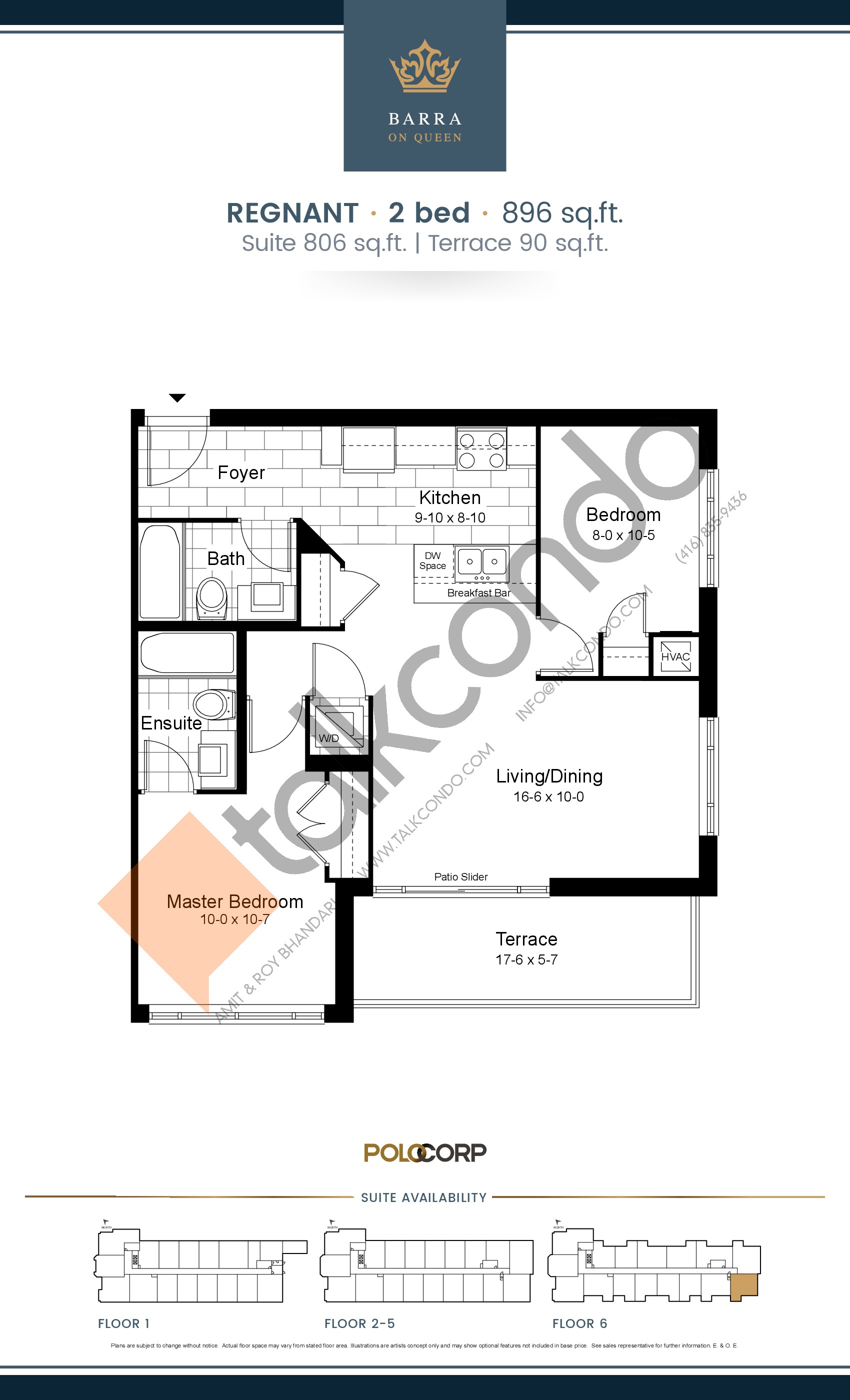 Regnant Floor Plan at Barra on Queen Condos - 806 sq.ft