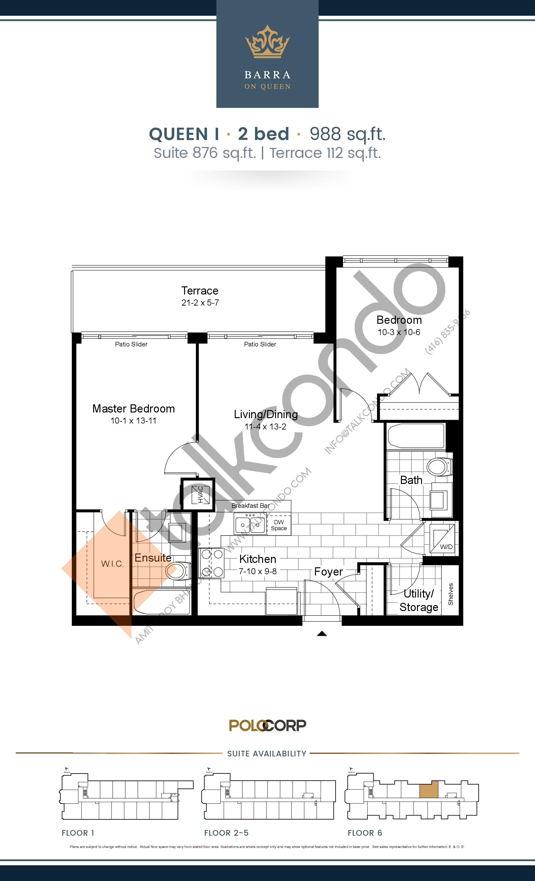 Queen I Floor Plan at Barra on Queen Condos - 876 sq.ft