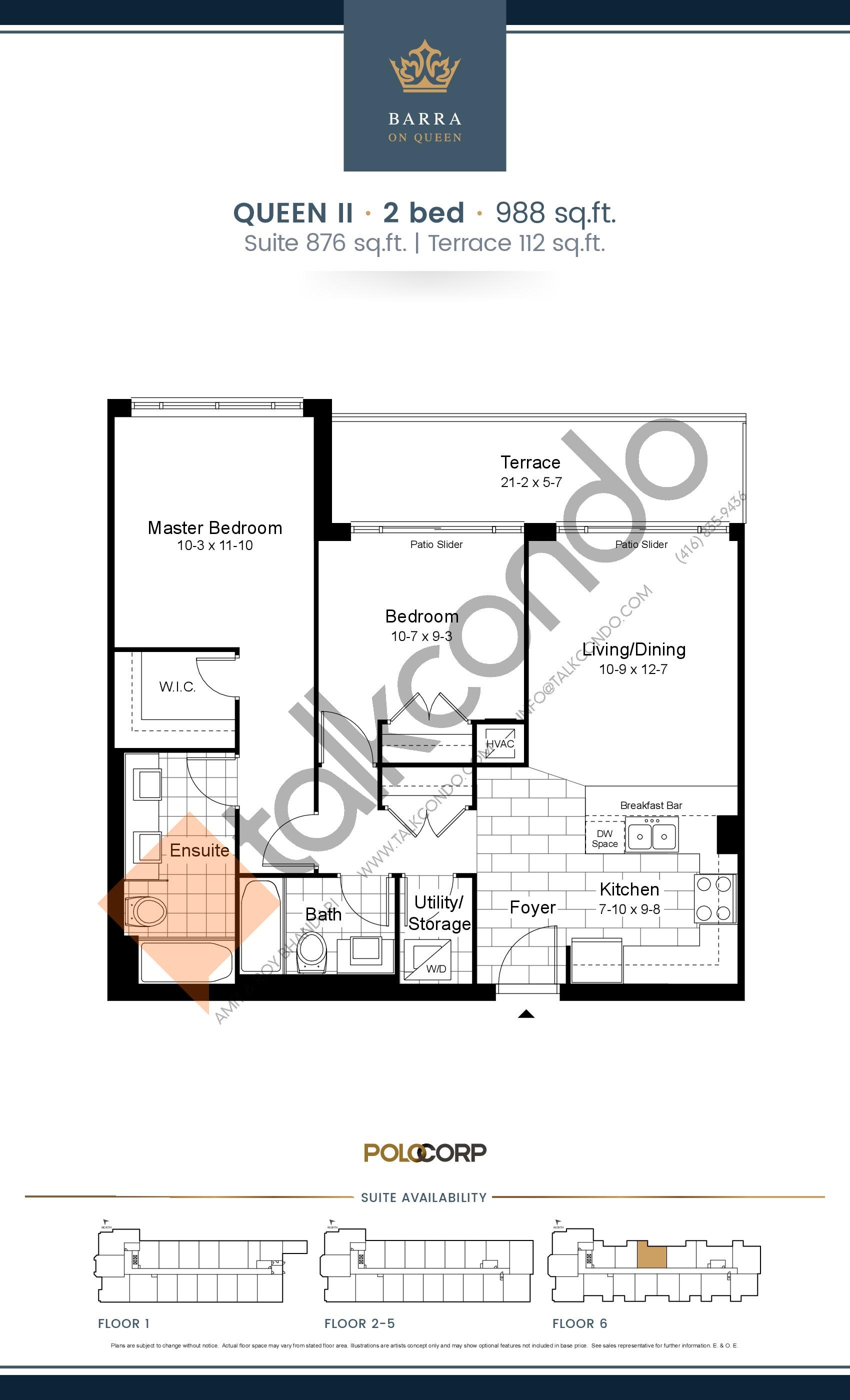 Queen II Floor Plan at Barra on Queen Condos - 876 sq.ft
