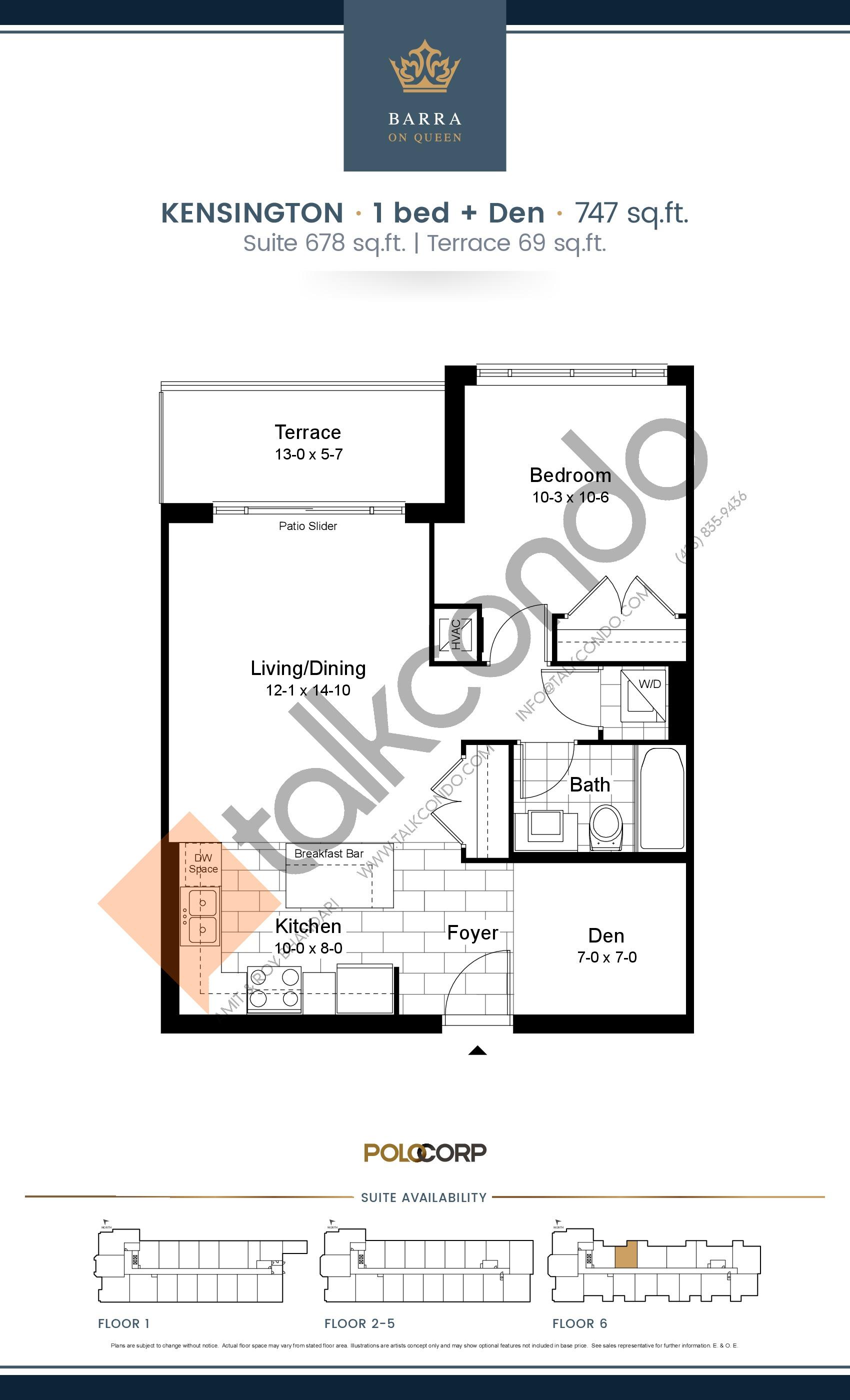 Kensington Floor Plan at Barra on Queen Condos - 678 sq.ft