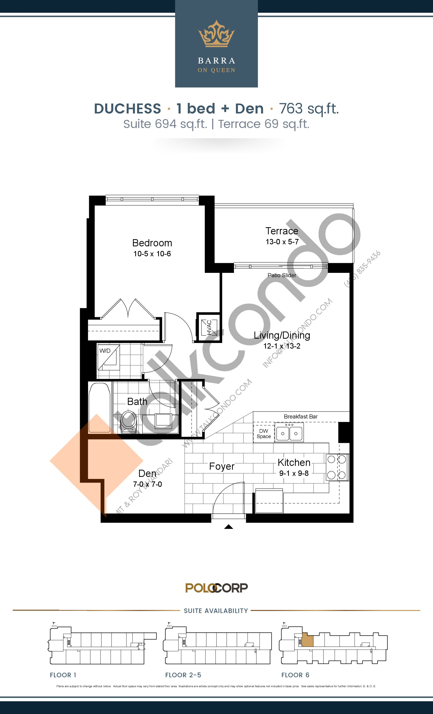 Duchess Floor Plan at Barra on Queen Condos - 694 sq.ft