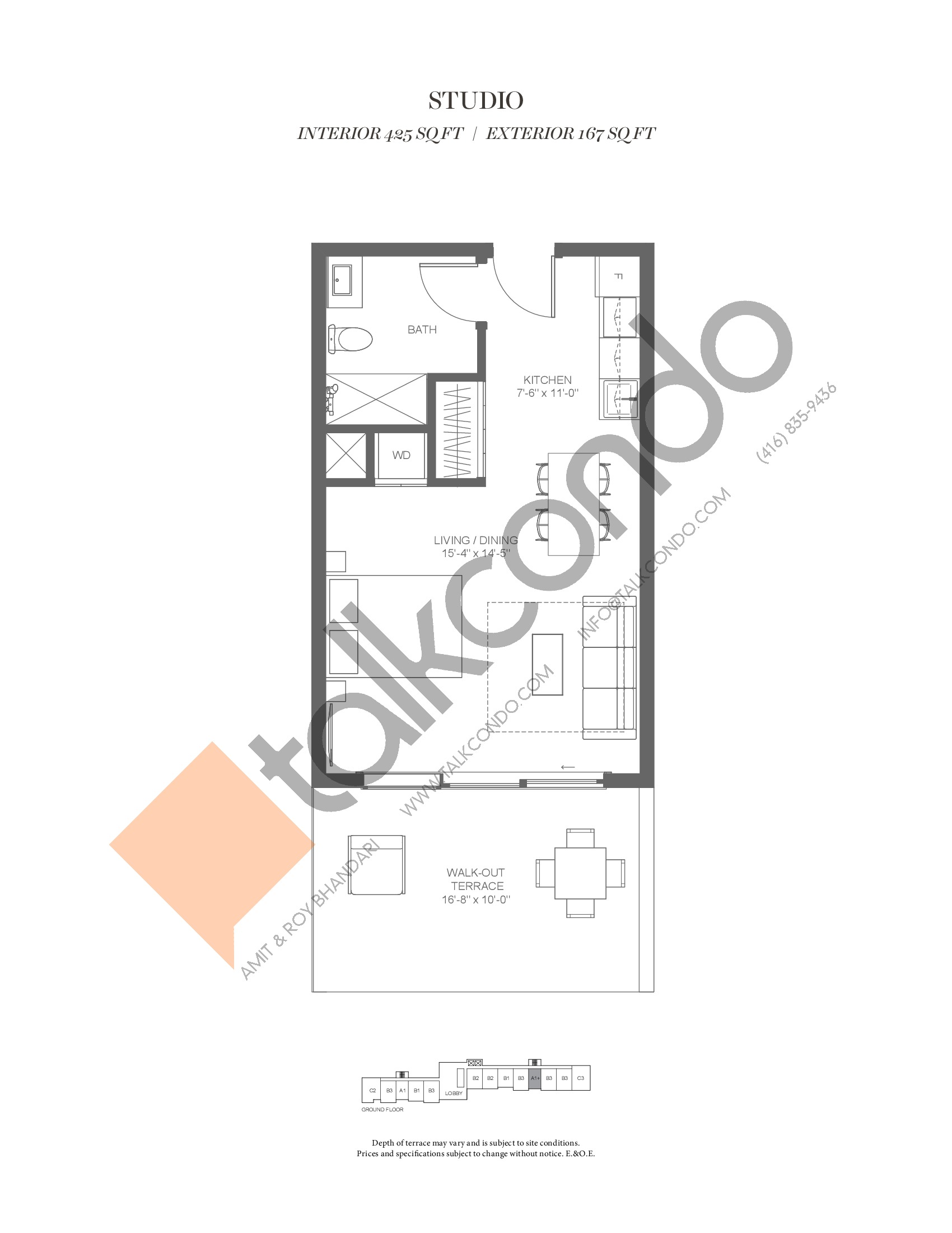 A1+ (Fairway Collection) Floor Plan at Muskoka Bay Resort - 425 sq.ft