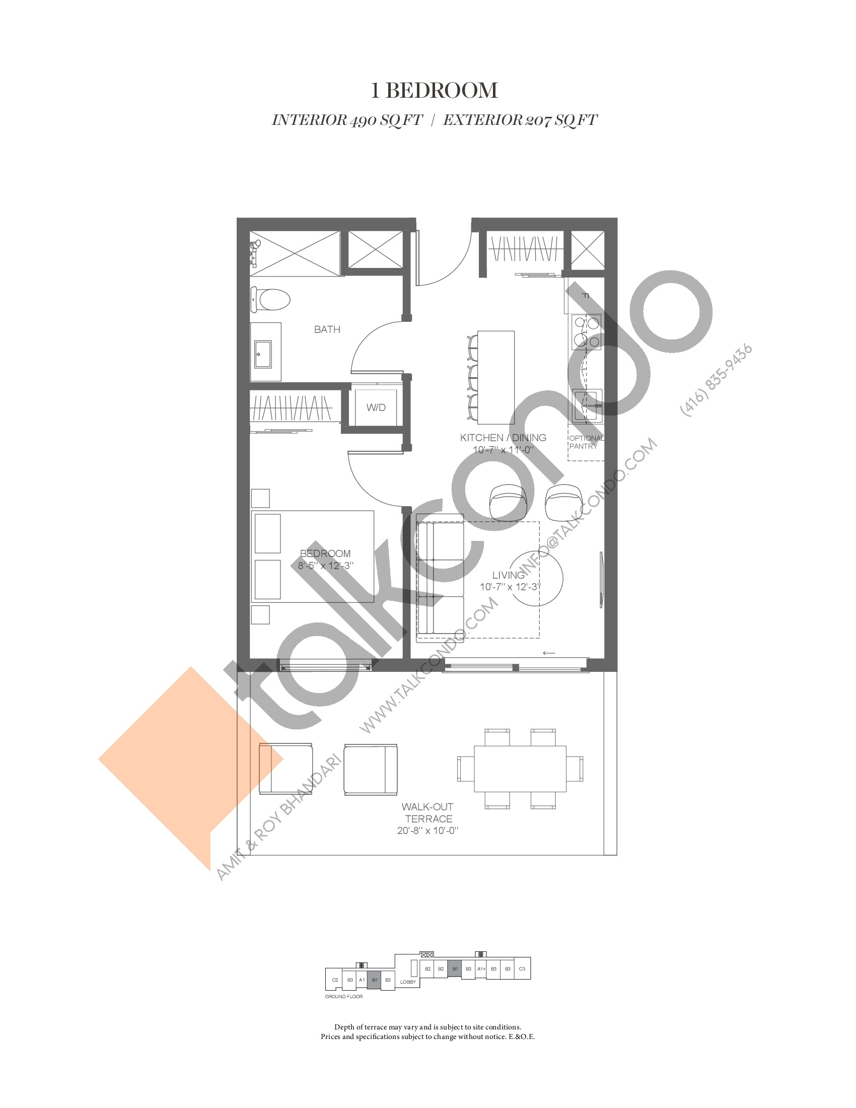 B1 (Fairway Collection) Floor Plan at Muskoka Bay Resort - 490 sq.ft