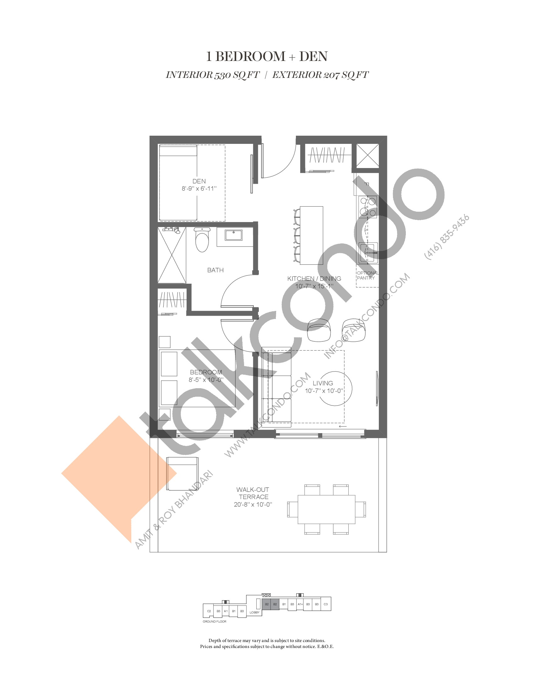 B2 (Fairway Collection) Floor Plan at Muskoka Bay Resort - 530 sq.ft