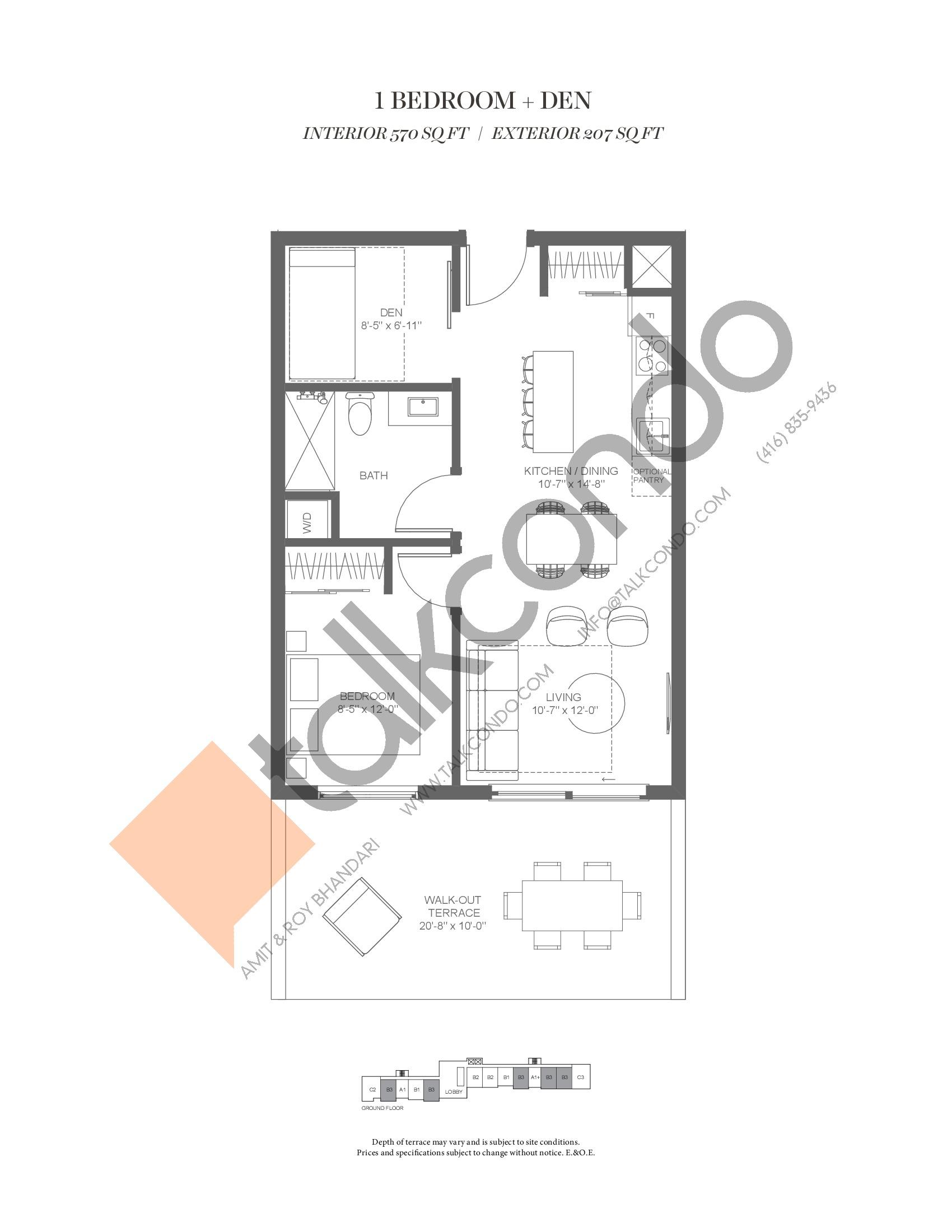 B3 (Fairway Collection) Floor Plan at Muskoka Bay Resort - 570 sq.ft