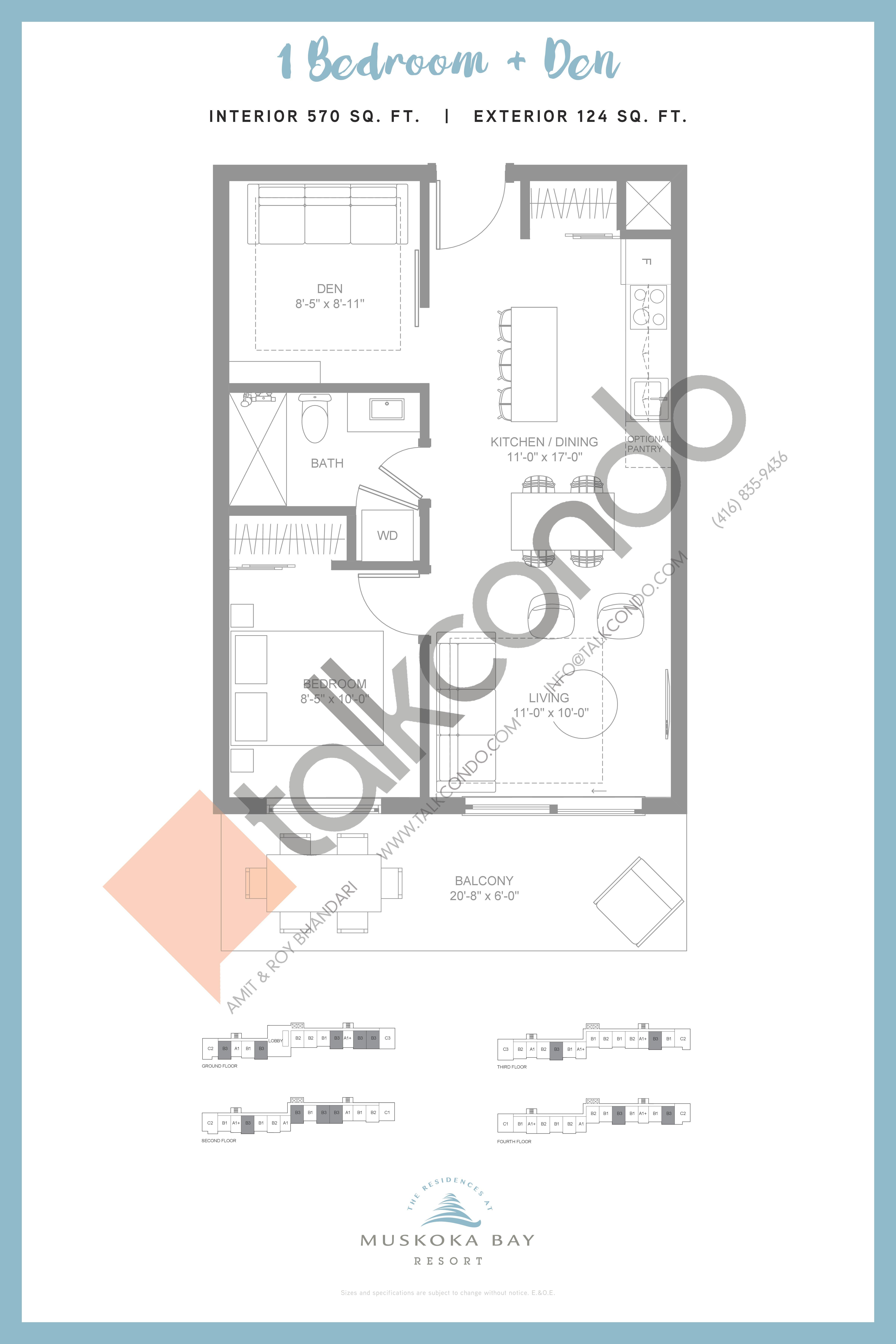 B3 (Suite Collection) Floor Plan at Muskoka Bay Resort - 570 sq.ft