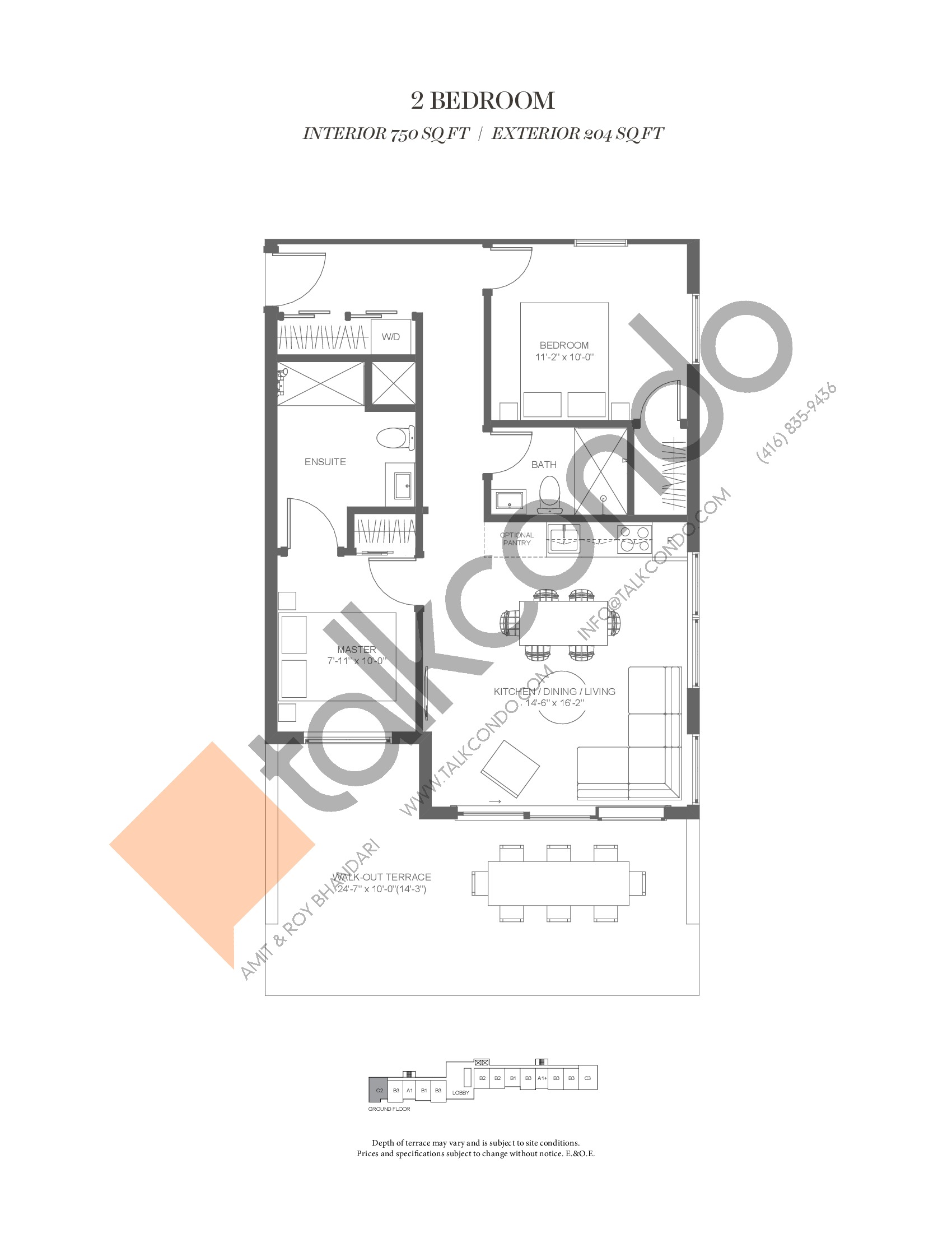 C2 (Fairway Collection) Floor Plan at Muskoka Bay Resort - 750 sq.ft